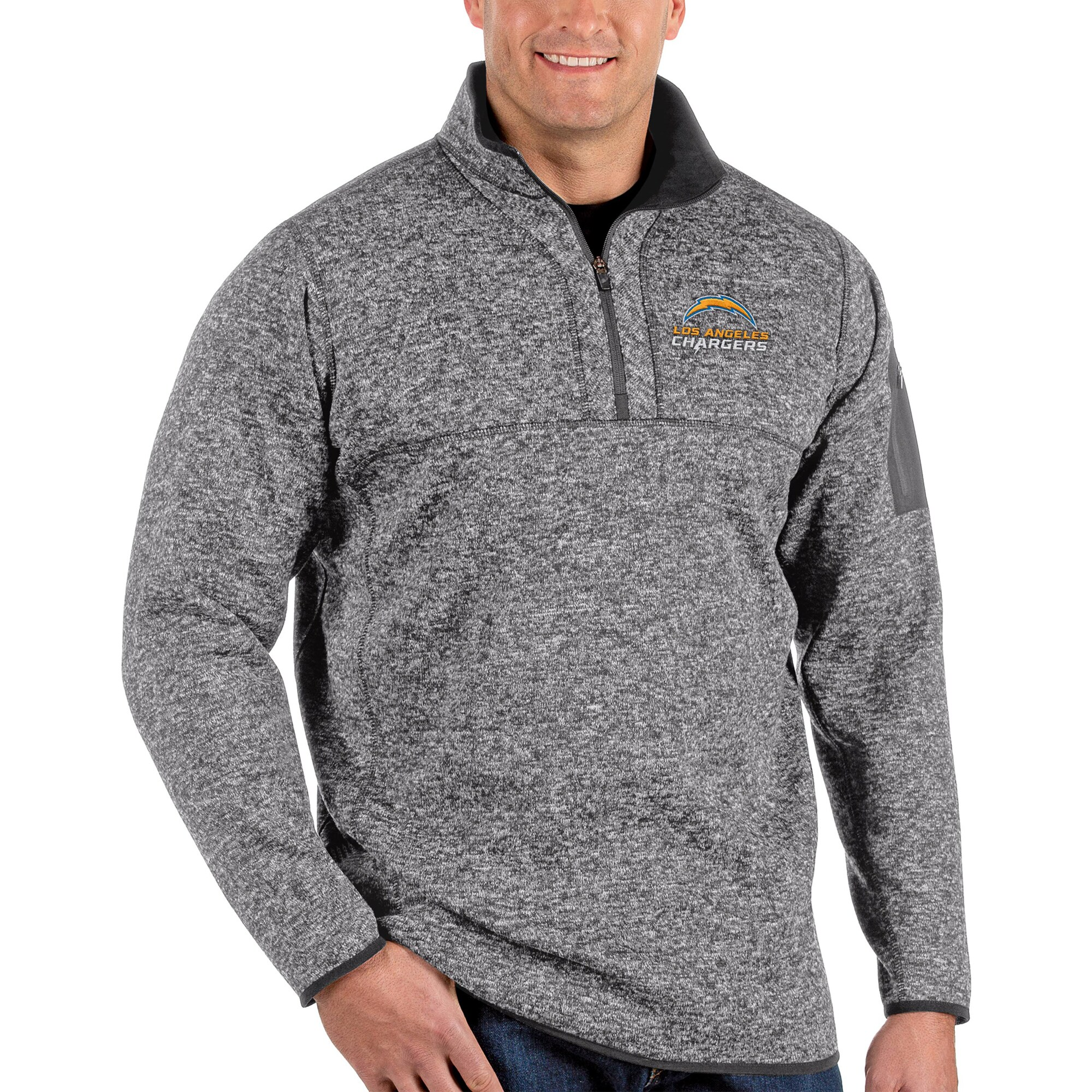 Los Angeles Chargers Antigua Big & Tall Fortune Quarter-Zip Pullover Jacket - Charcoal