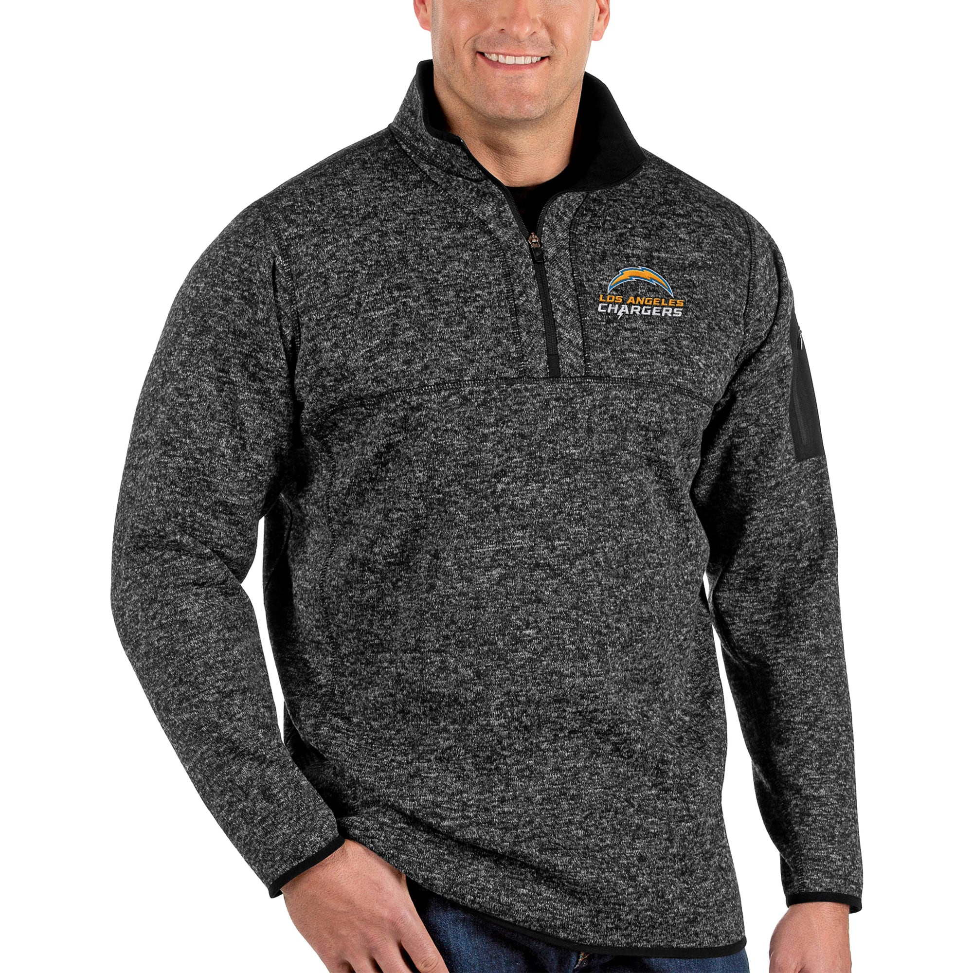 Los Angeles Chargers Antigua Big & Tall Fortune Quarter-Zip Pullover Jacket - Heather Black