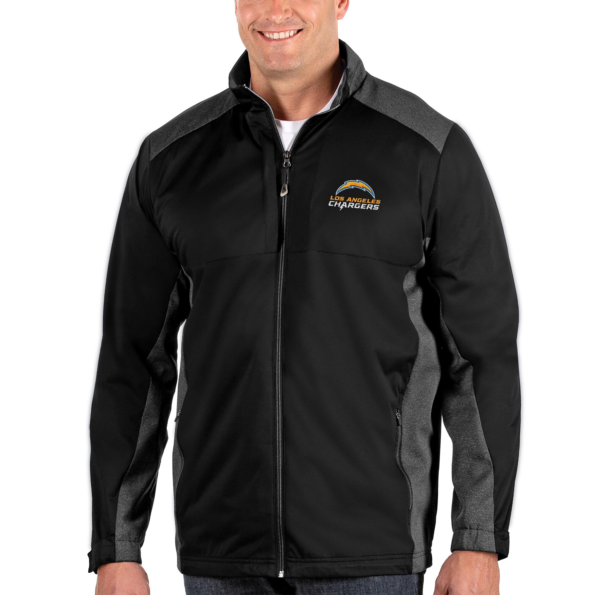 Los Angeles Chargers Antigua Big & Tall Revolve Full-Zip Jacket - Heather Black