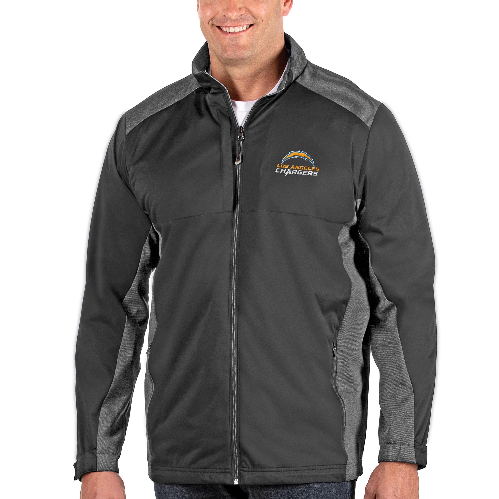 Los Angeles Chargers Antigua Big & Tall Revolve Full-Zip Jacket - Heather Charcoal