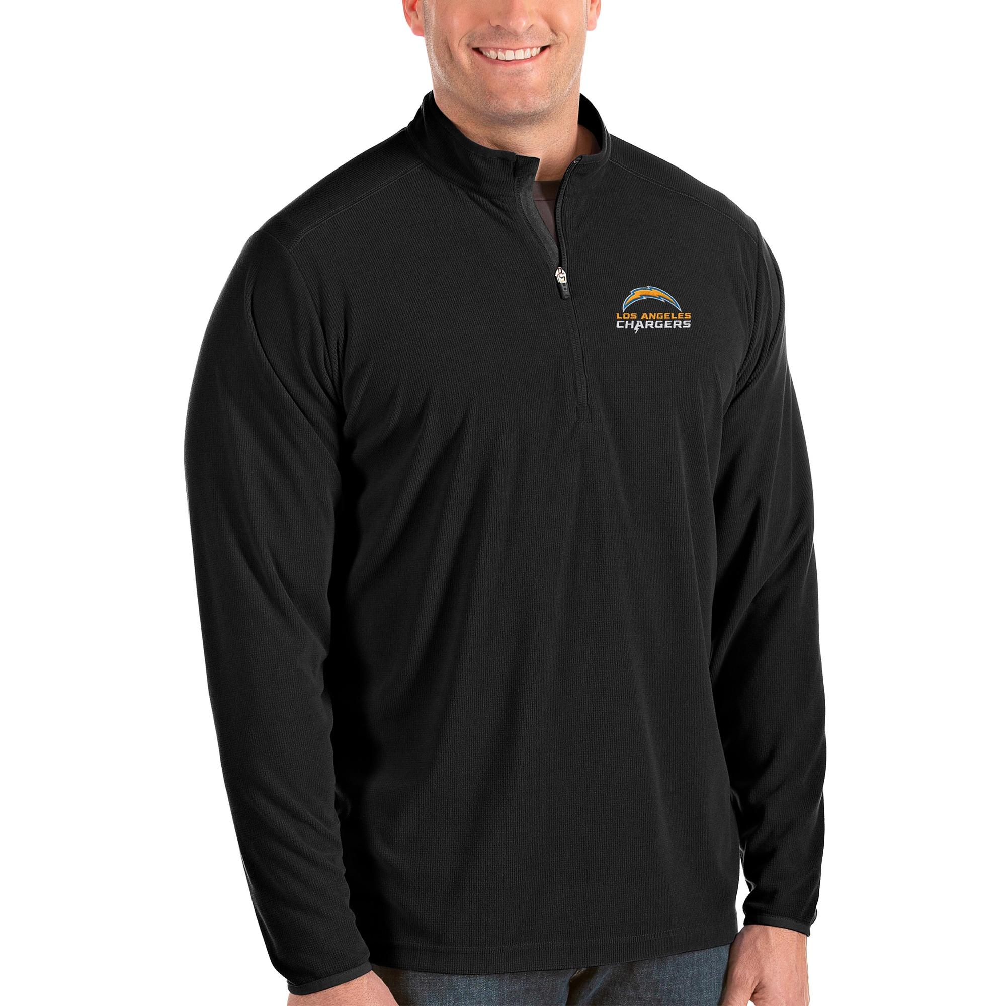 Los Angeles Chargers Antigua Big & Tall Glacier Quarter-Zip Pullover Jacket - Black