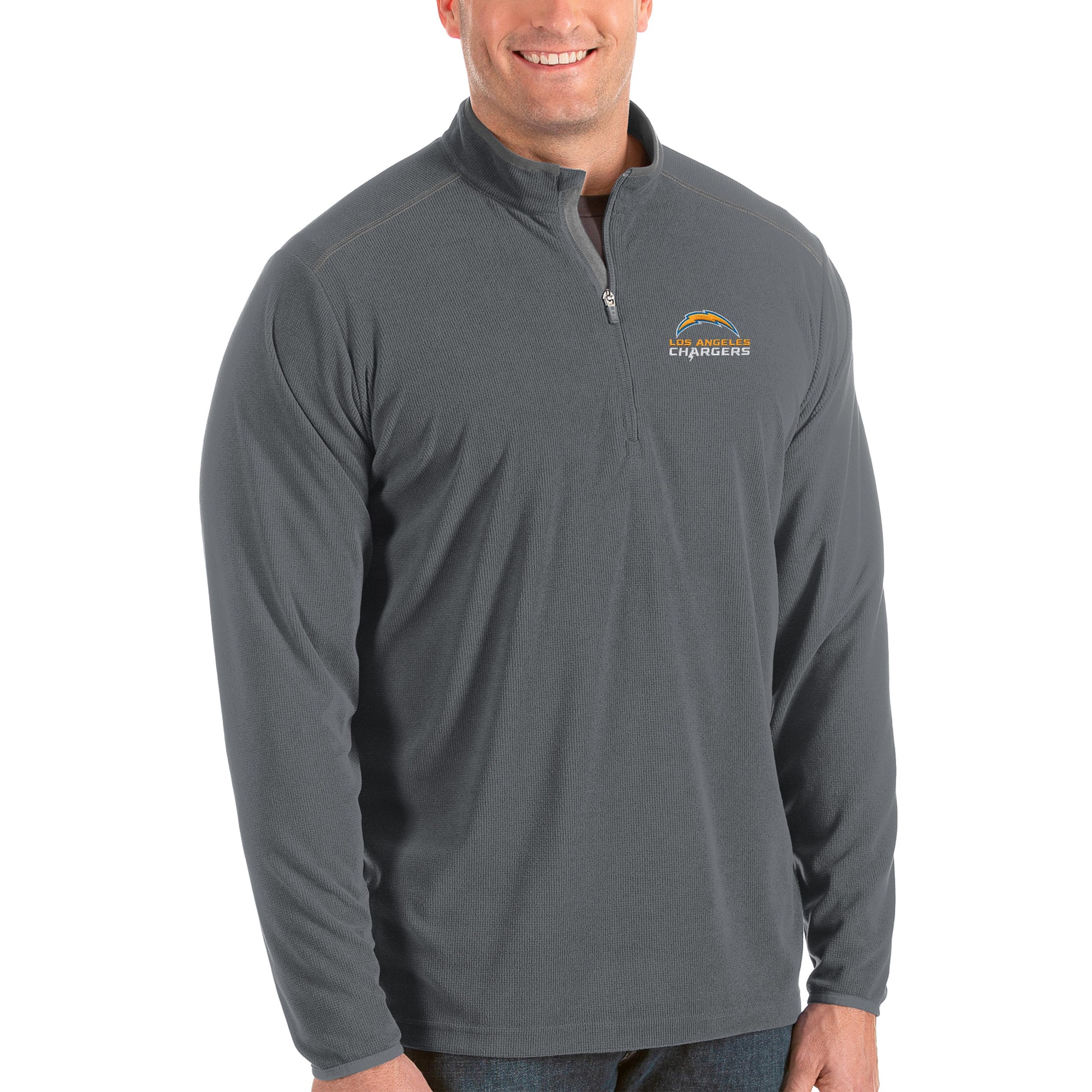 Los Angeles Chargers Antigua Big & Tall Glacier Quarter-Zip Pullover Jacket - Steel