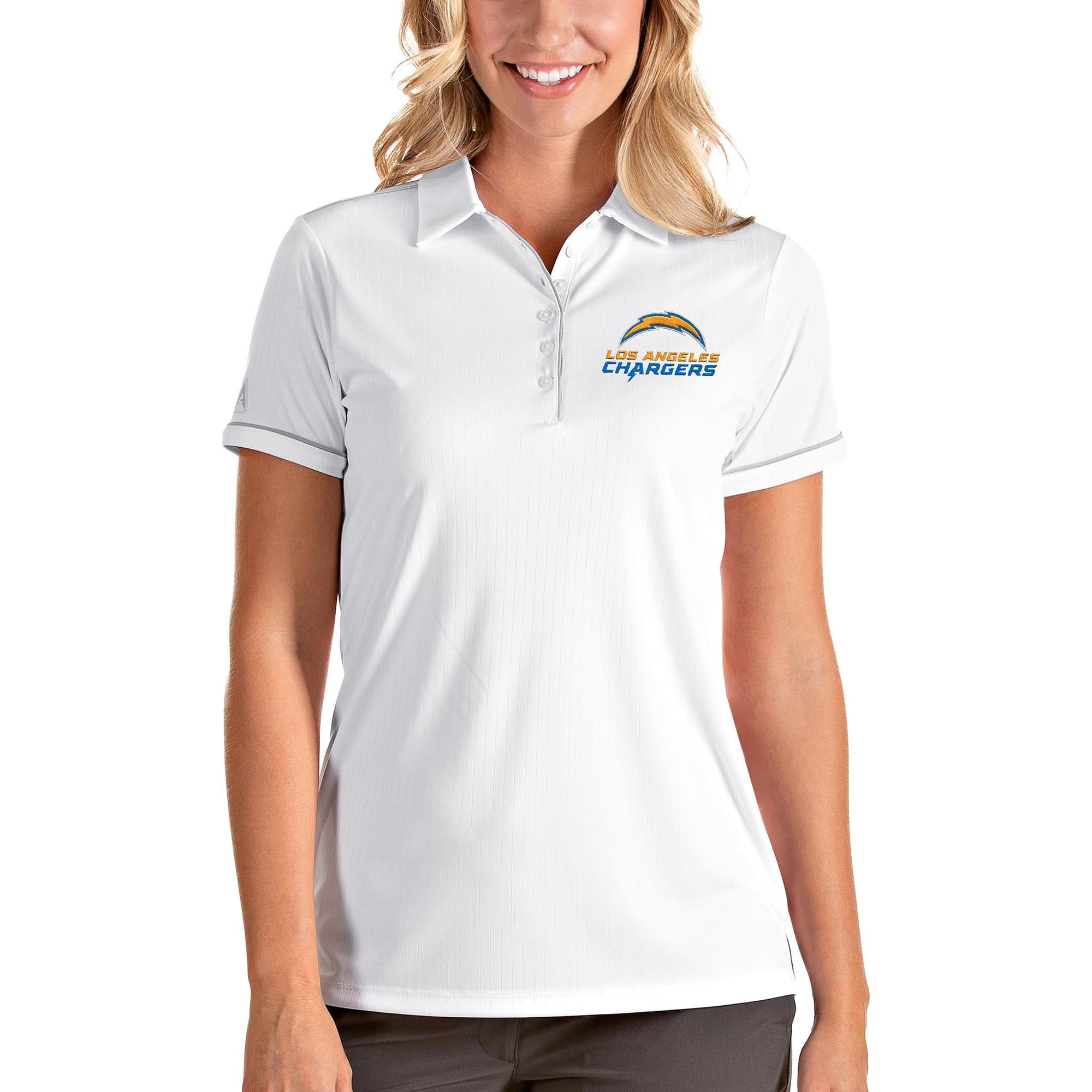 Los Angeles Chargers Antigua Women's Team Salute Polo - White