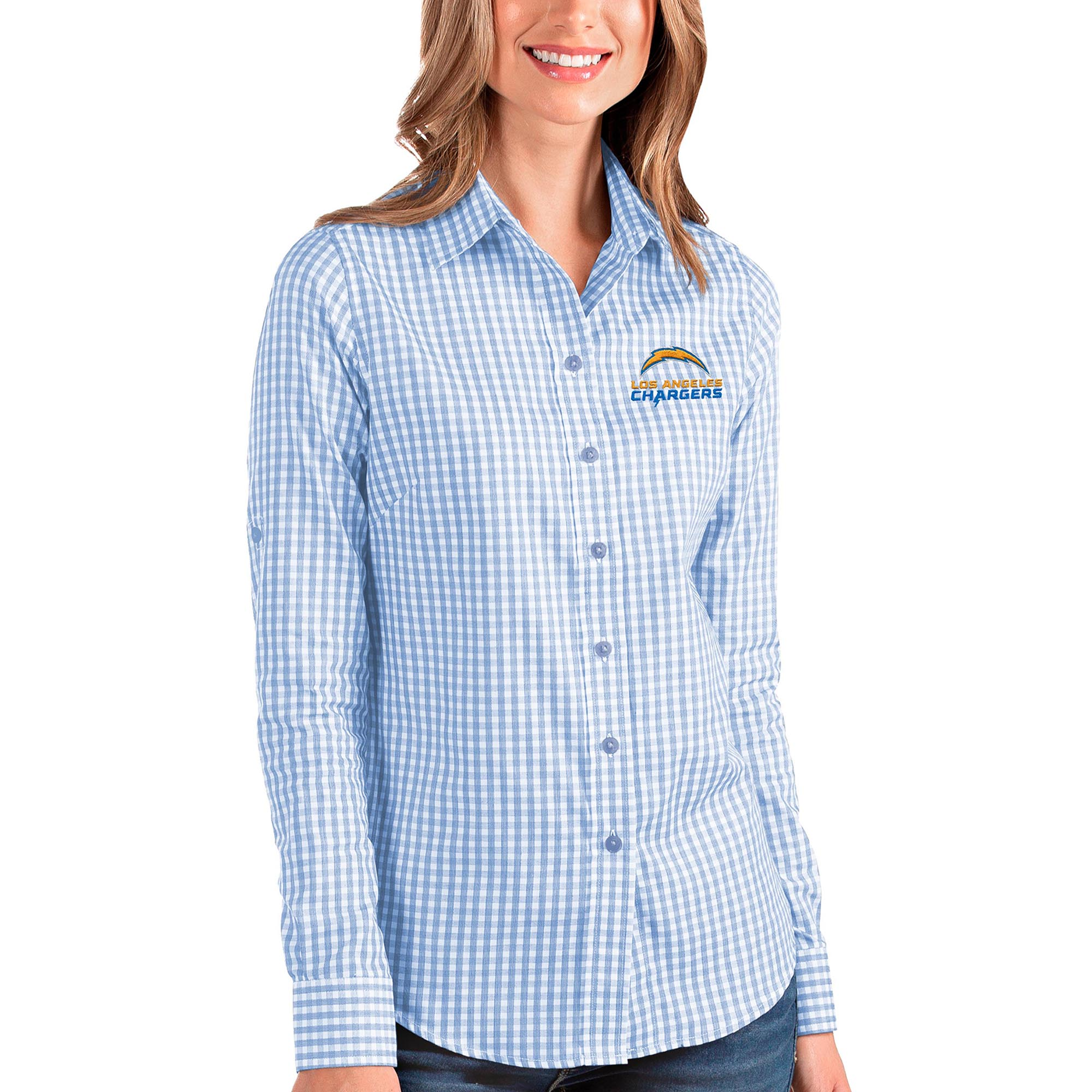 Los Angeles Chargers Antigua Women's Structure Button-Up Long Sleeve Shirt - Blue