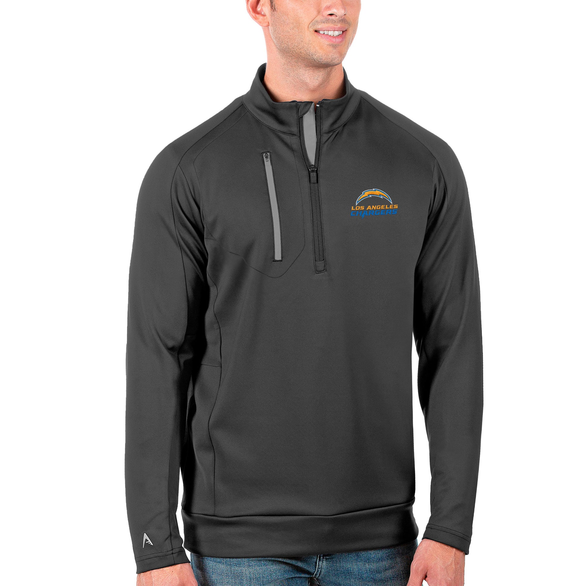 Los Angeles Chargers Antigua Generation Quarter-Zip Pullover Jacket - Charcoal/Silver