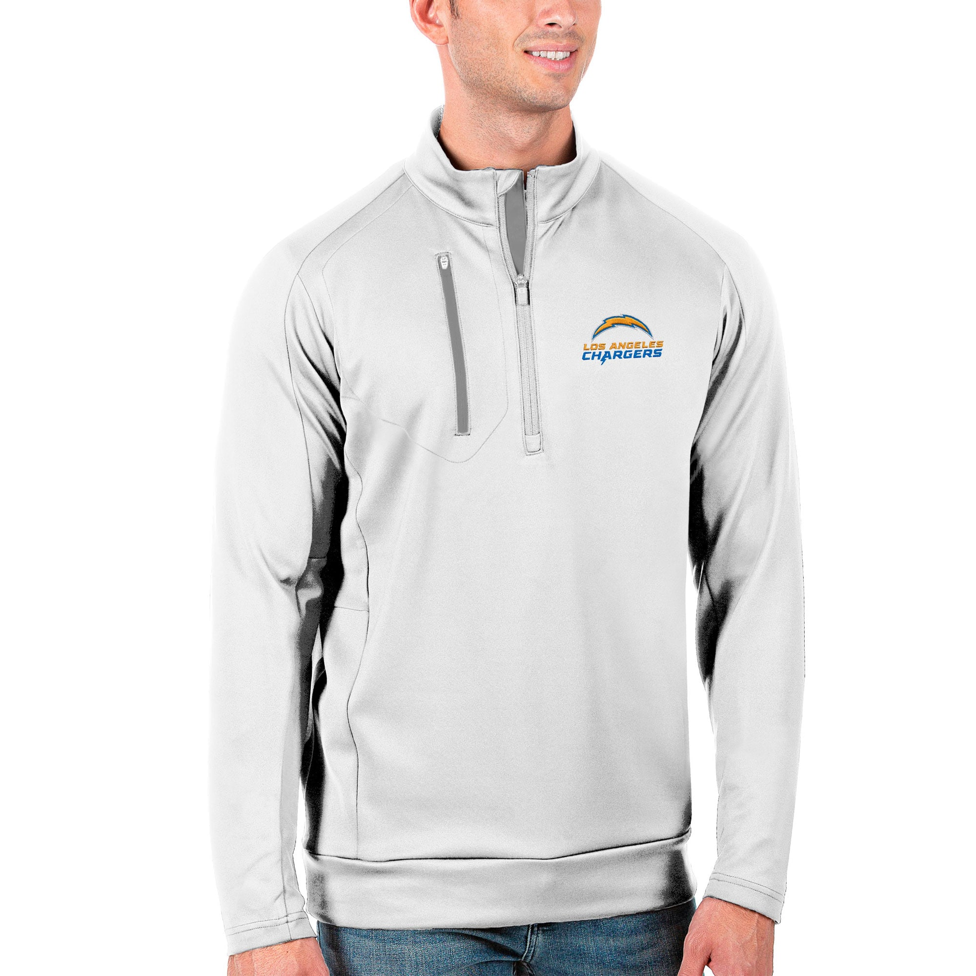 Los Angeles Chargers Antigua Generation Quarter-Zip Pullover Jacket - White/Silver