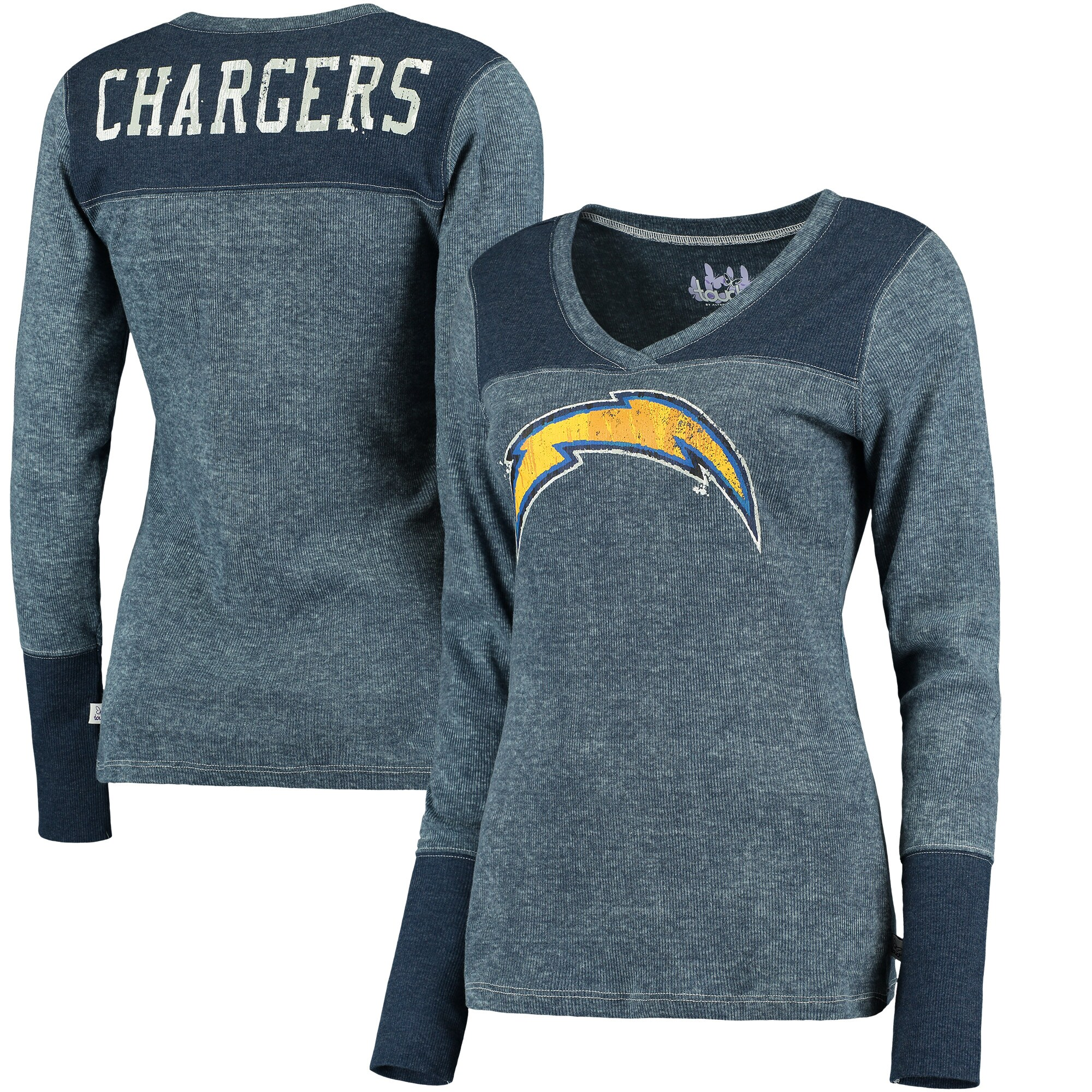 Los Angeles Chargers Touch by Alyssa Milano Women's Goal Line Long Sleeve V-Neck T-Shirt - Navy