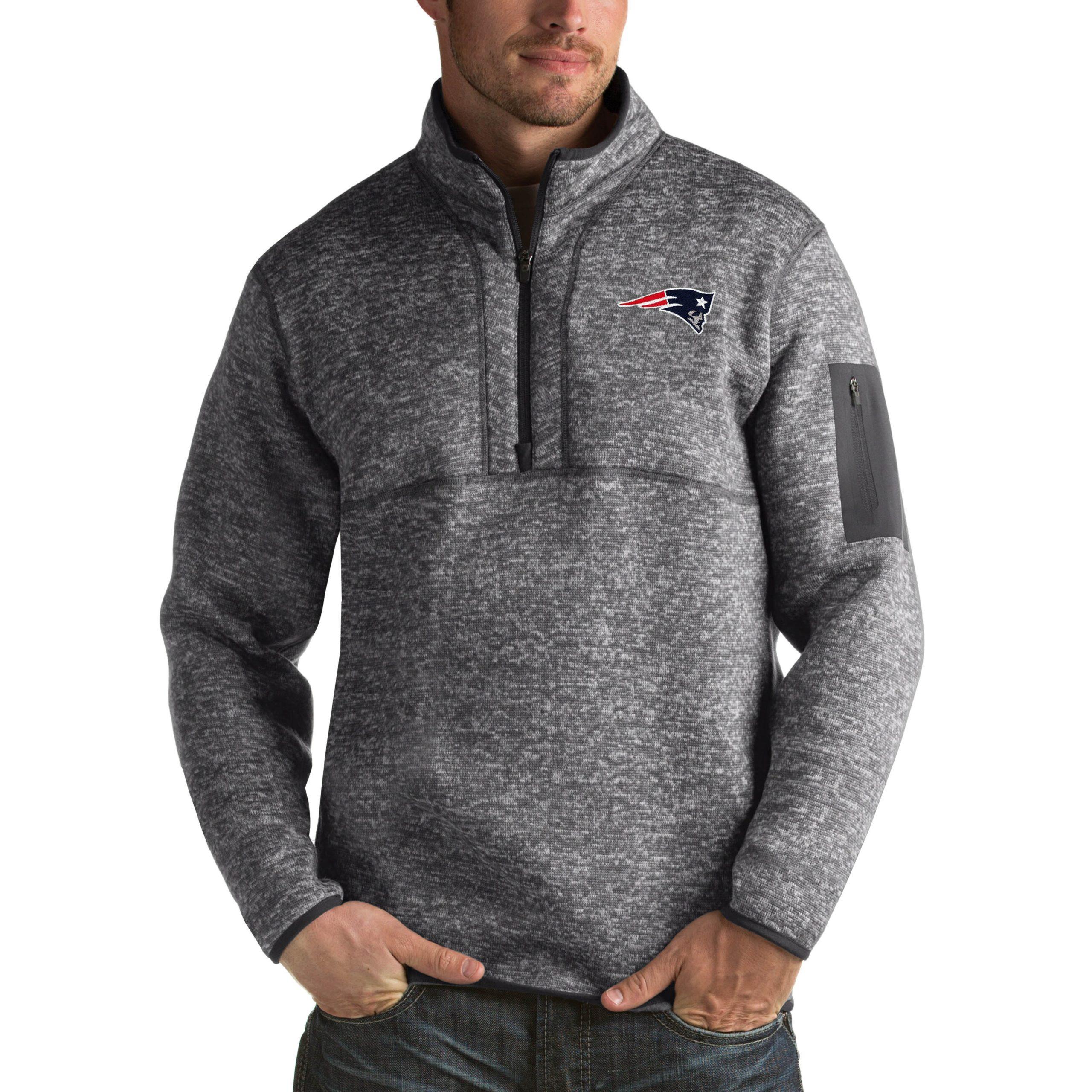 New England Patriots Antigua Fortune Big & Tall Quarter-Zip Pullover Jacket - Charcoal