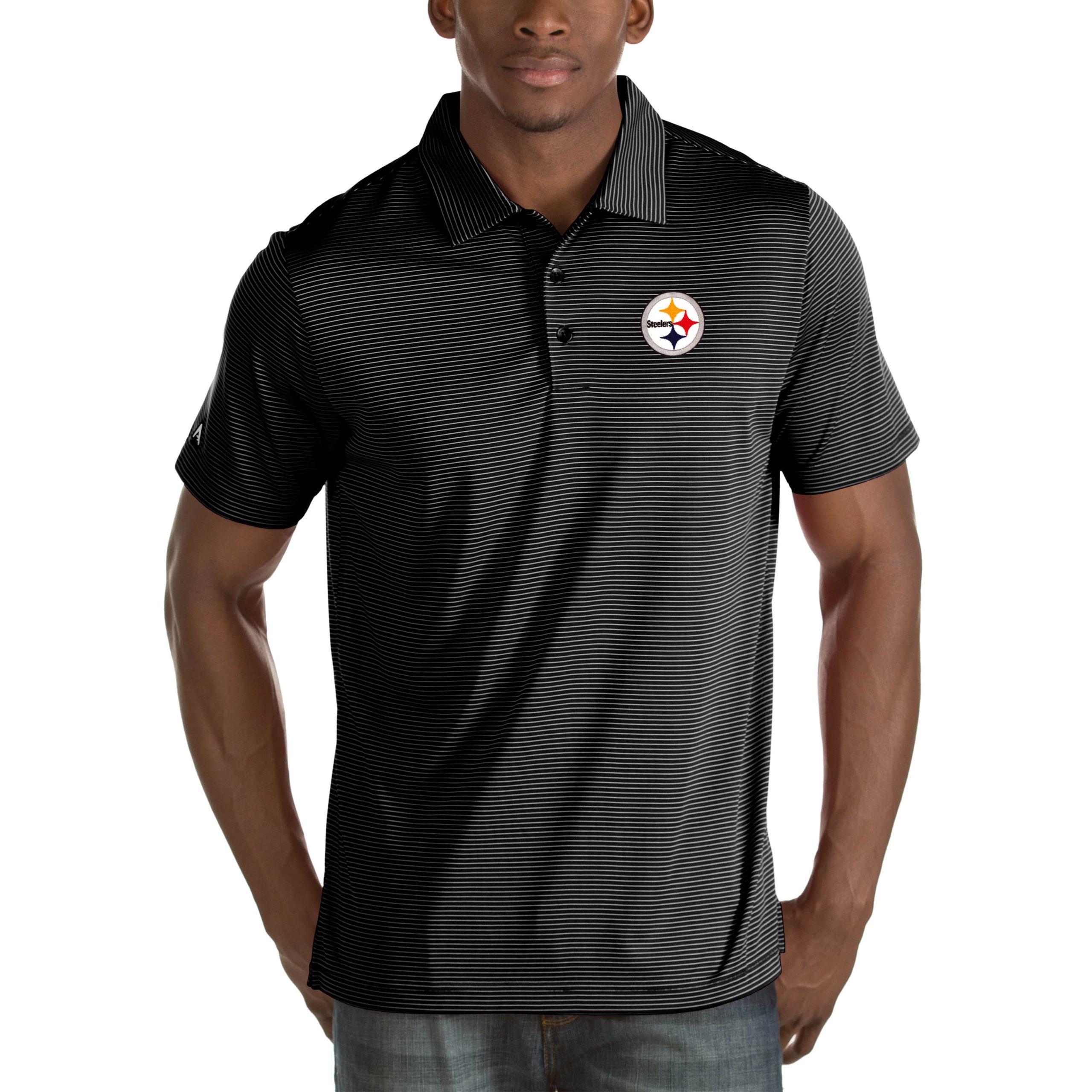 Pittsburgh Steelers Antigua Quest Big & Tall Polo - Black
