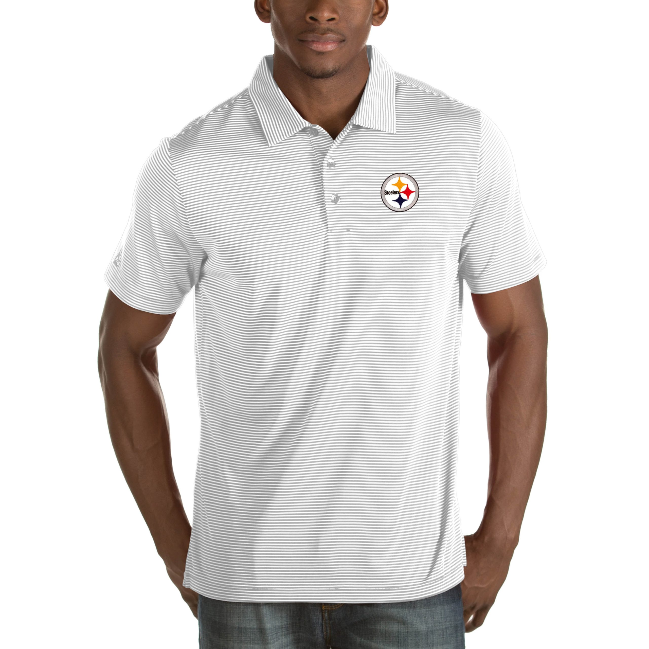 Pittsburgh Steelers Antigua Quest Big & Tall Polo - White