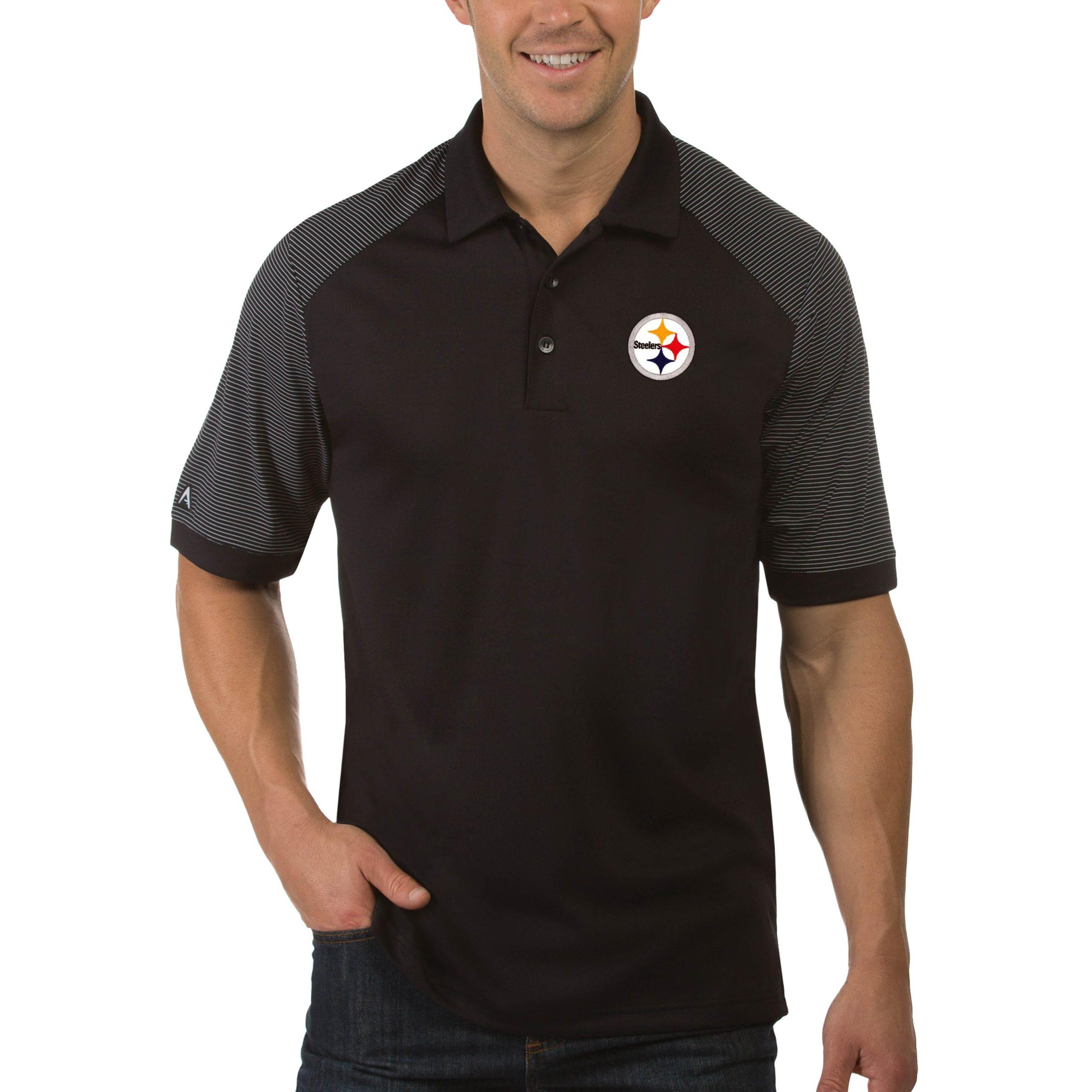 Pittsburgh Steelers Antigua Engage Big & Tall Polo - Black