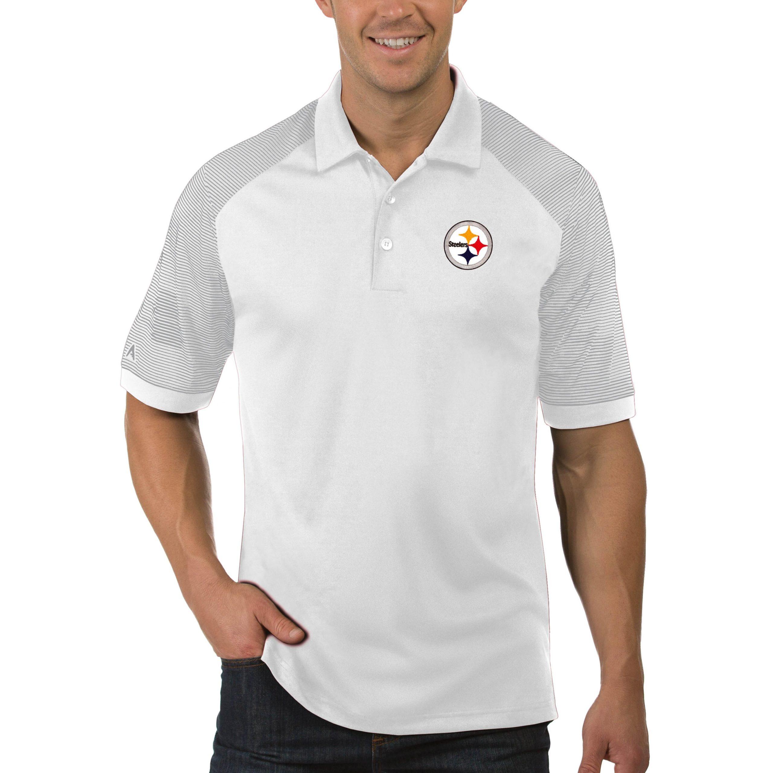 Pittsburgh Steelers Antigua Engage Big & Tall Polo - White