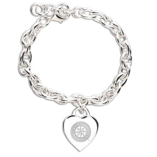 Seattle Mariners WinCraft Women's Heart Charm Bracelet - Silver