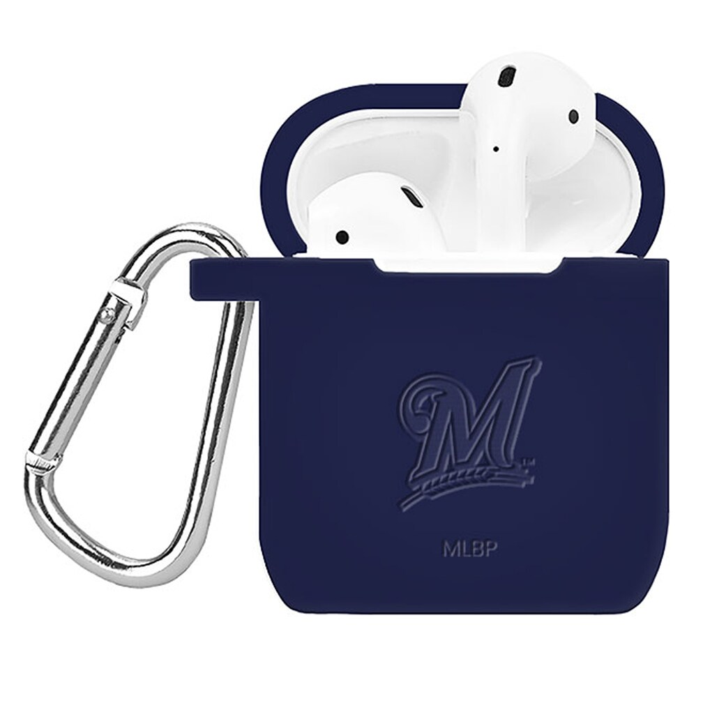 Milwaukee Brewers Debossed Silicone Air Pods Case Cover - Navy