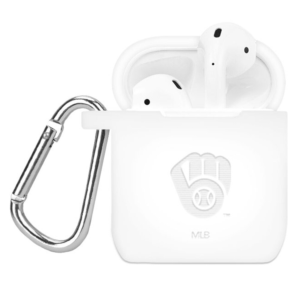 Milwaukee Brewers Debossed Silicone Air Pods Case Cover - White