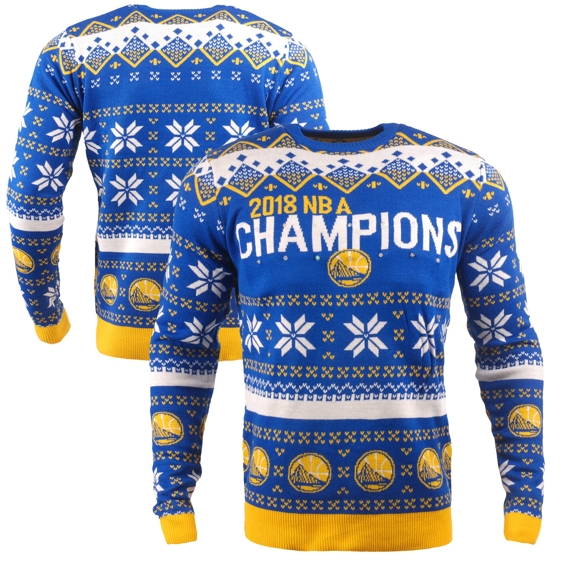 Golden State Warriors 2018 NBA Finals Champions Holiday Pullover Sweater - Blue