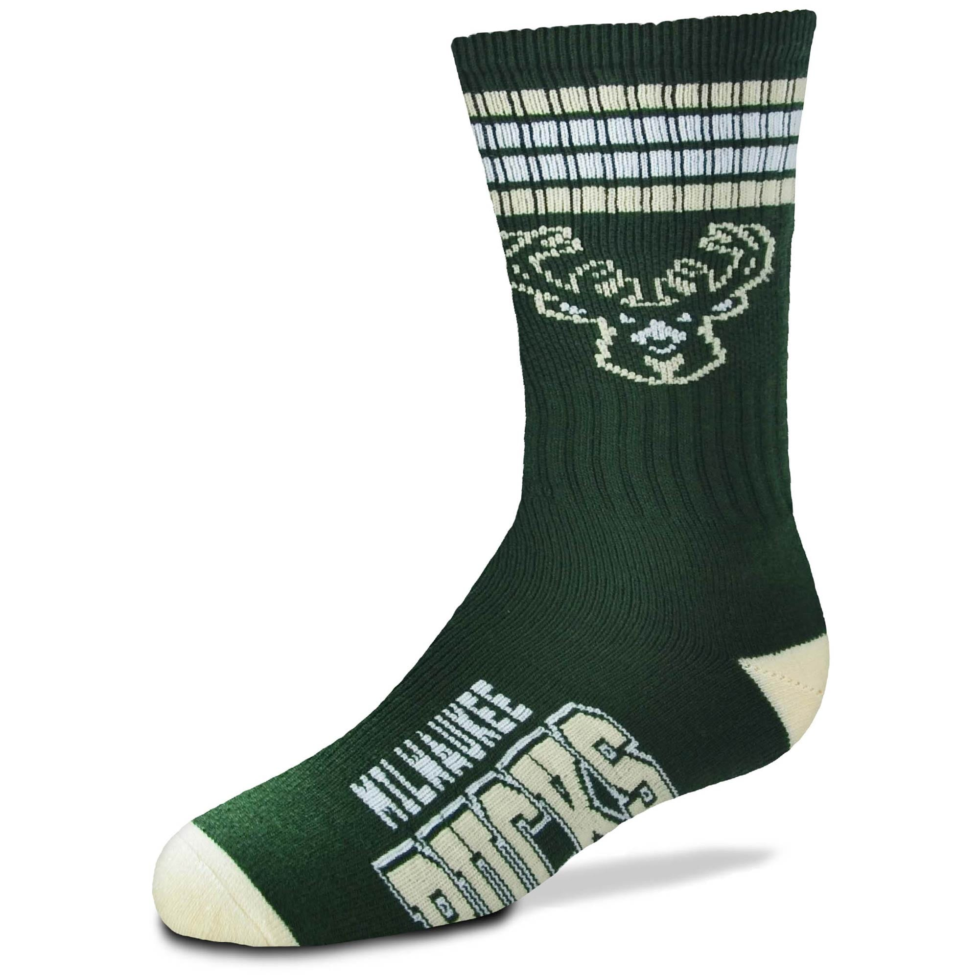Milwaukee Bucks For Bare Feet Youth 4-Stripe Deuce Quarter-Length Socks