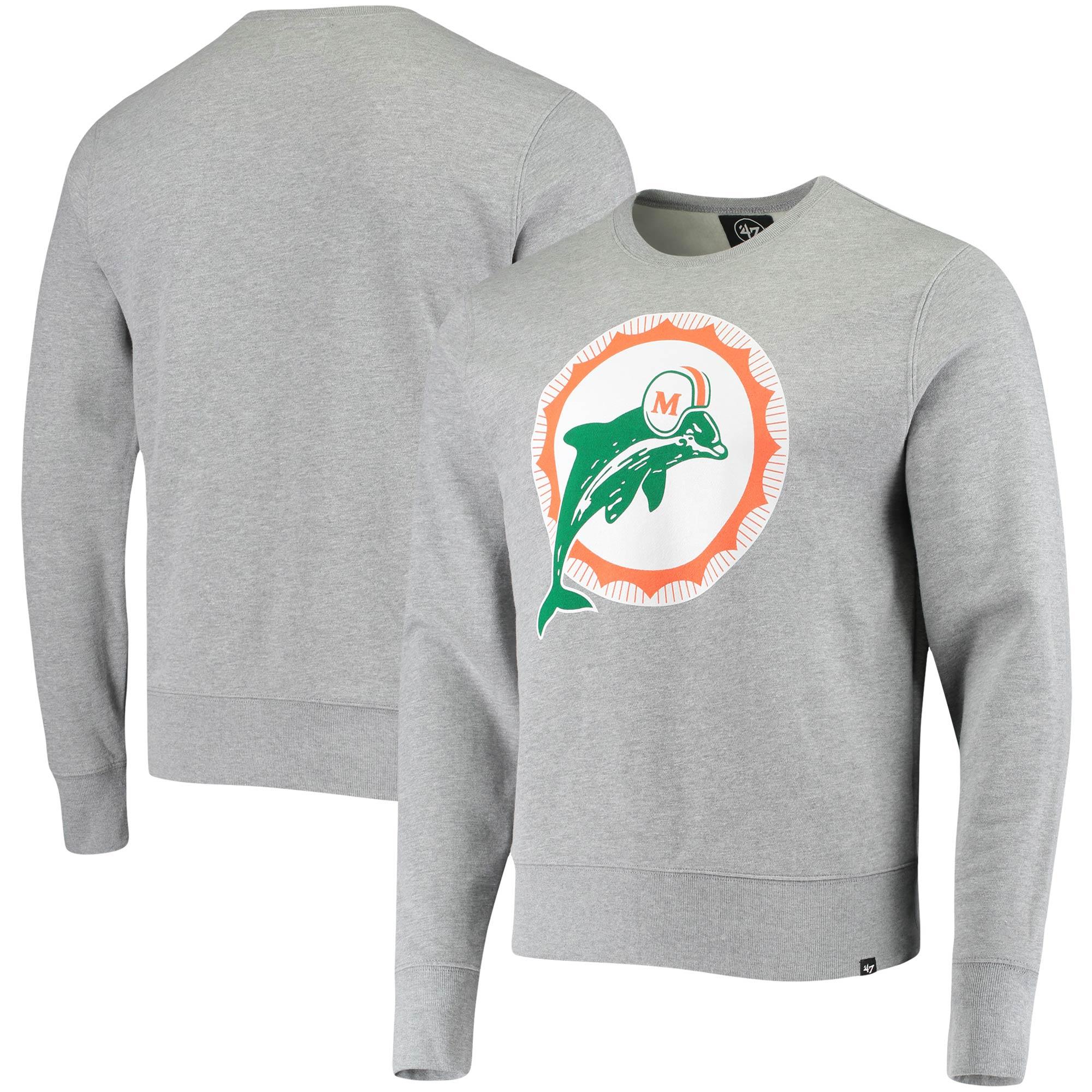 Miami Dolphins '47 Imprint Headline Historic Logo Fleece Pullover Sweatshirt - Heathered Gray