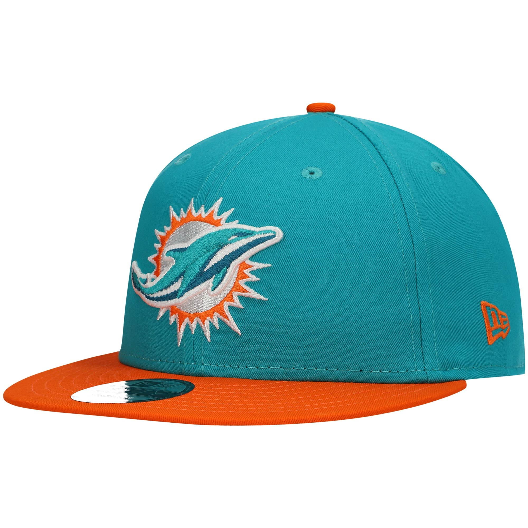 Miami Dolphins New Era Baycik 9FIFTY Snapback Hat - Aqua/Orange