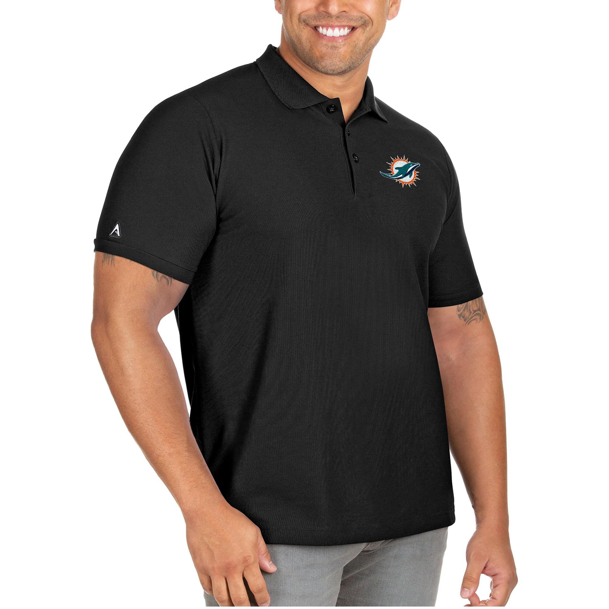 Miami Dolphins Antigua Big & Tall Legacy Pique Polo - Black