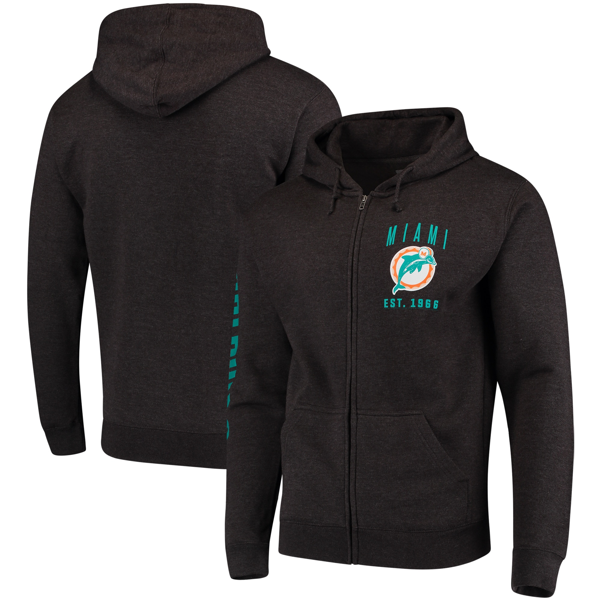 Miami Dolphins Retro Full-Zip Hoodie - Heathered Charcoal