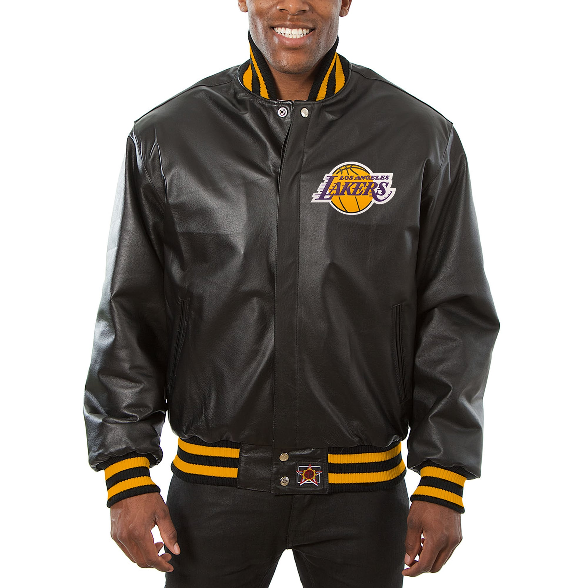 Los Angeles Lakers JH Design Big & Tall All-Leather Logo Full-Snap Jacket - Black