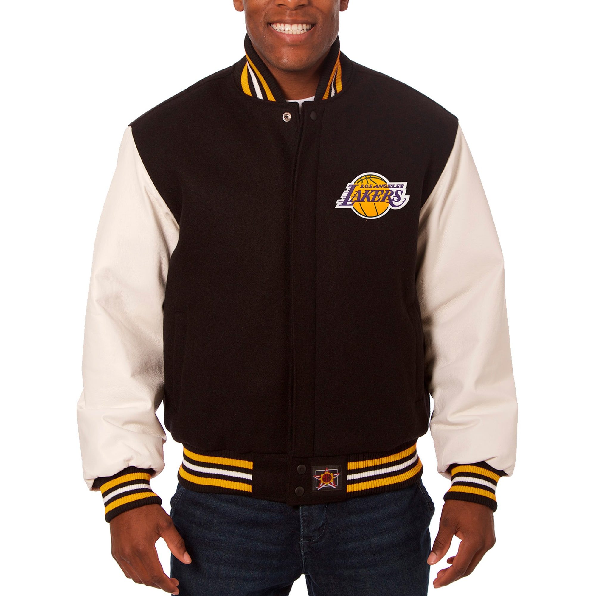 Los Angeles Lakers JH Design Big & Tall Wool & Leather Full-Snap Jacket - Black/White