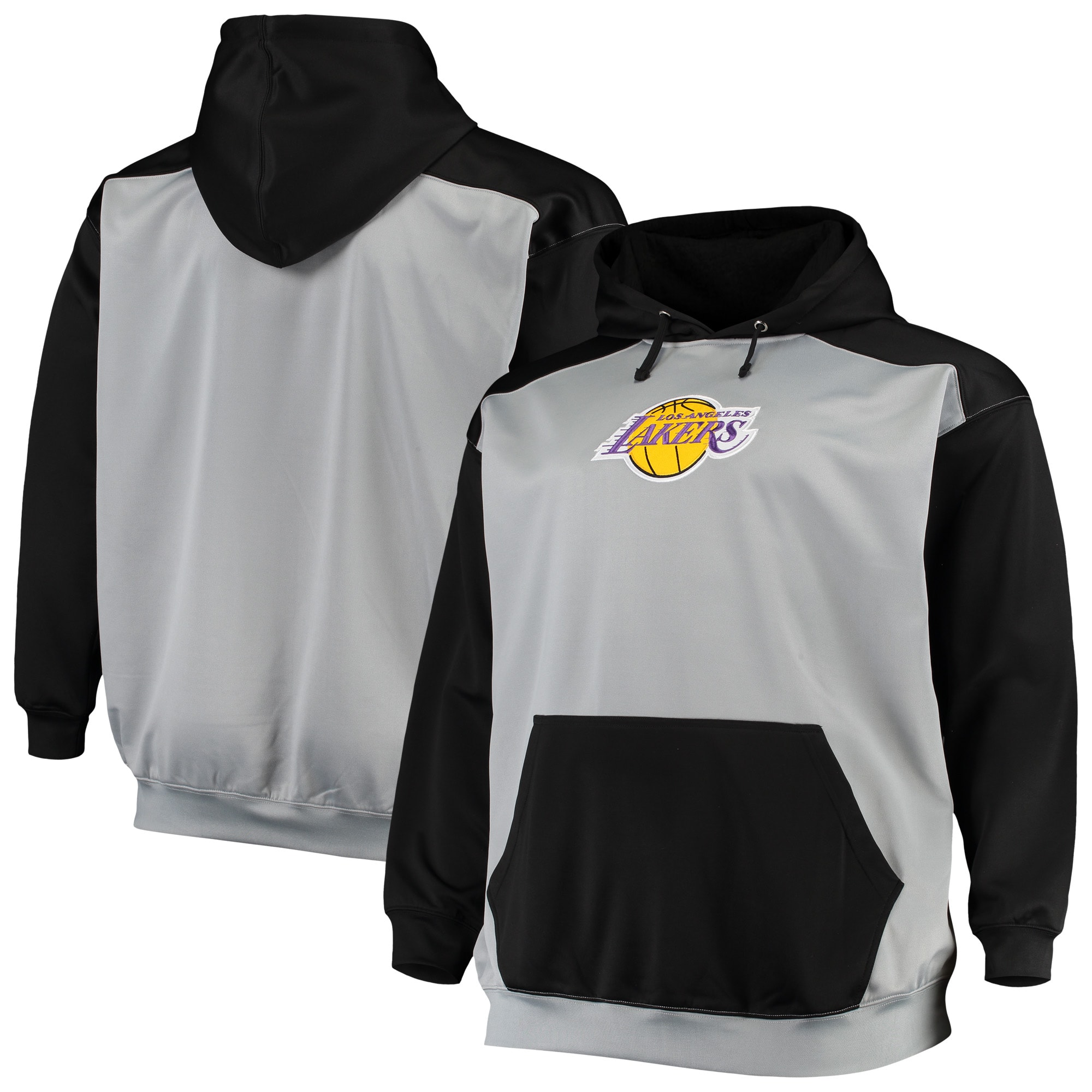 Los Angeles Lakers Colorblock Raglan Pouch Pullover Hoodie - Gray/Black