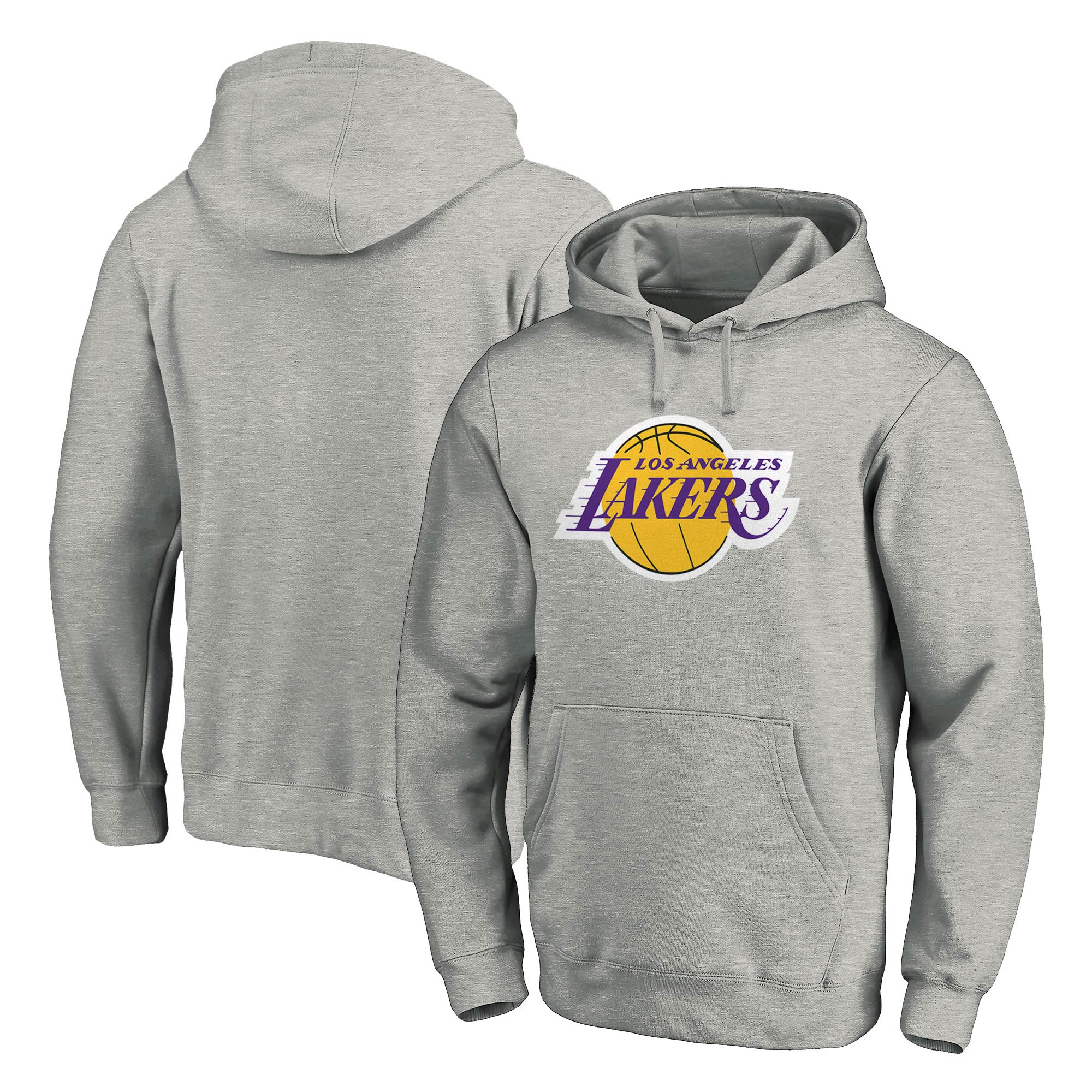 Los Angeles Lakers Fanatics Branded Team Primary Logo Pullover Hoodie - Heathered Gray