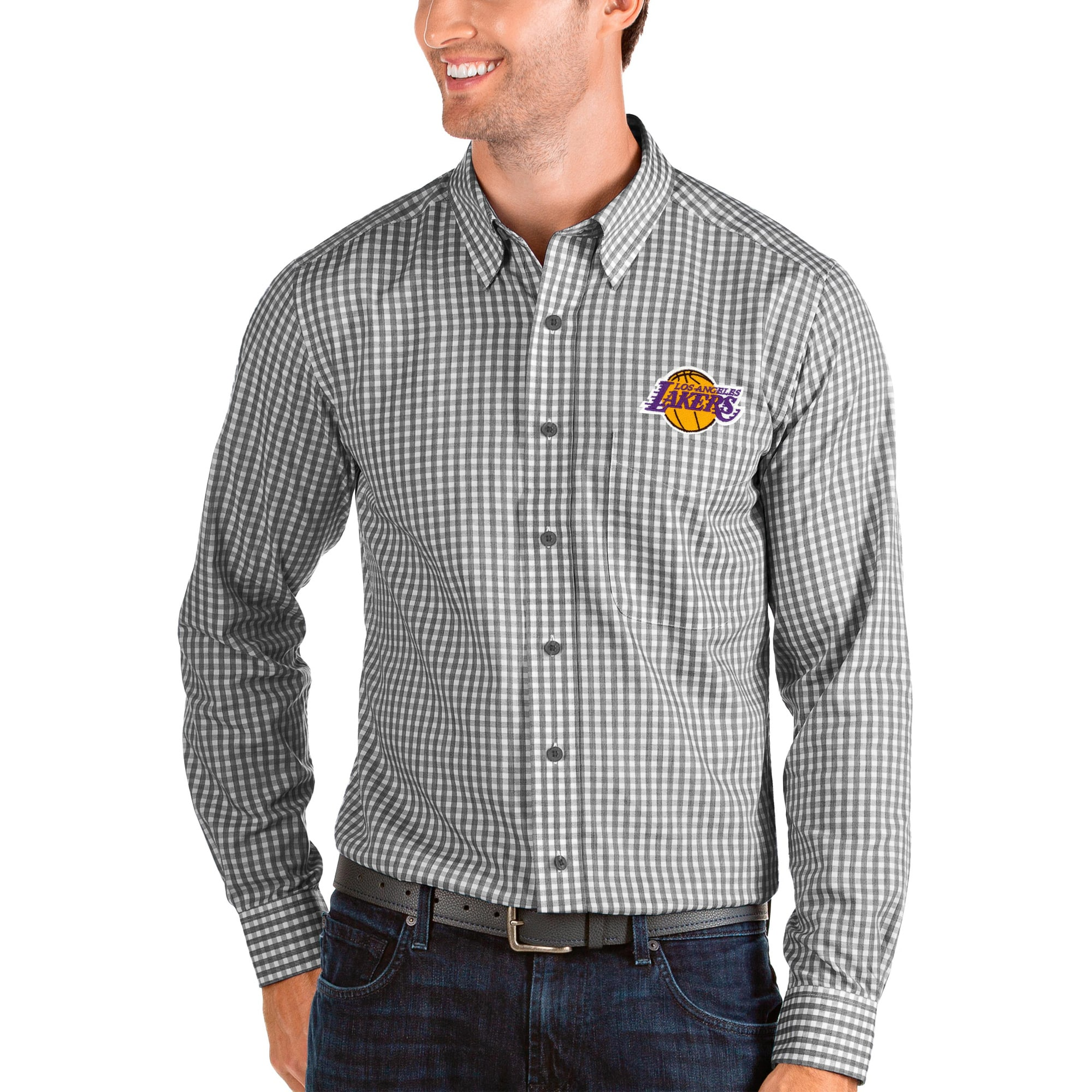Los Angeles Lakers Antigua Structure Long Sleeve Button-Up Shirt - Black/White