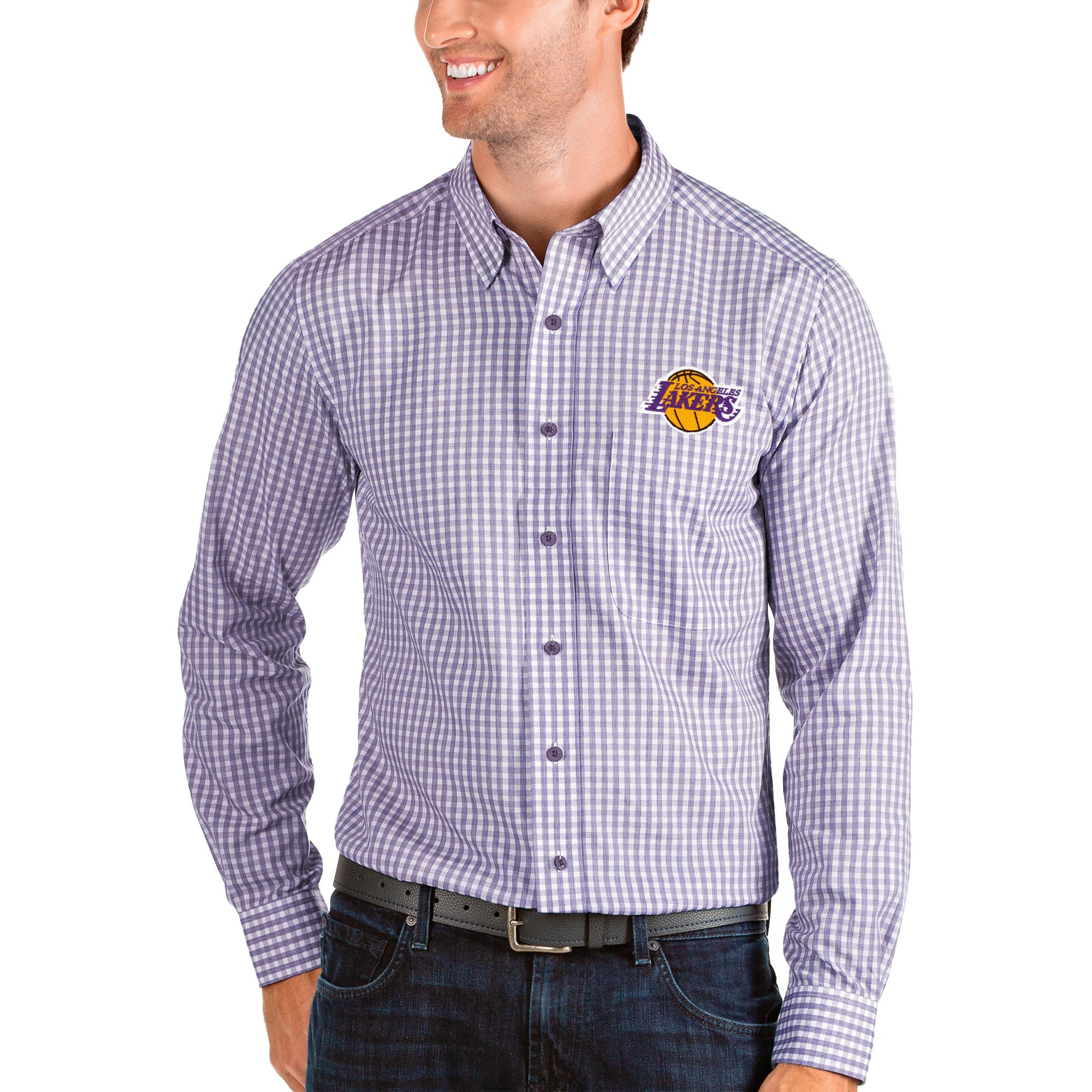 Los Angeles Lakers Antigua Structure Long Sleeve Button-Up Shirt - Purple/White