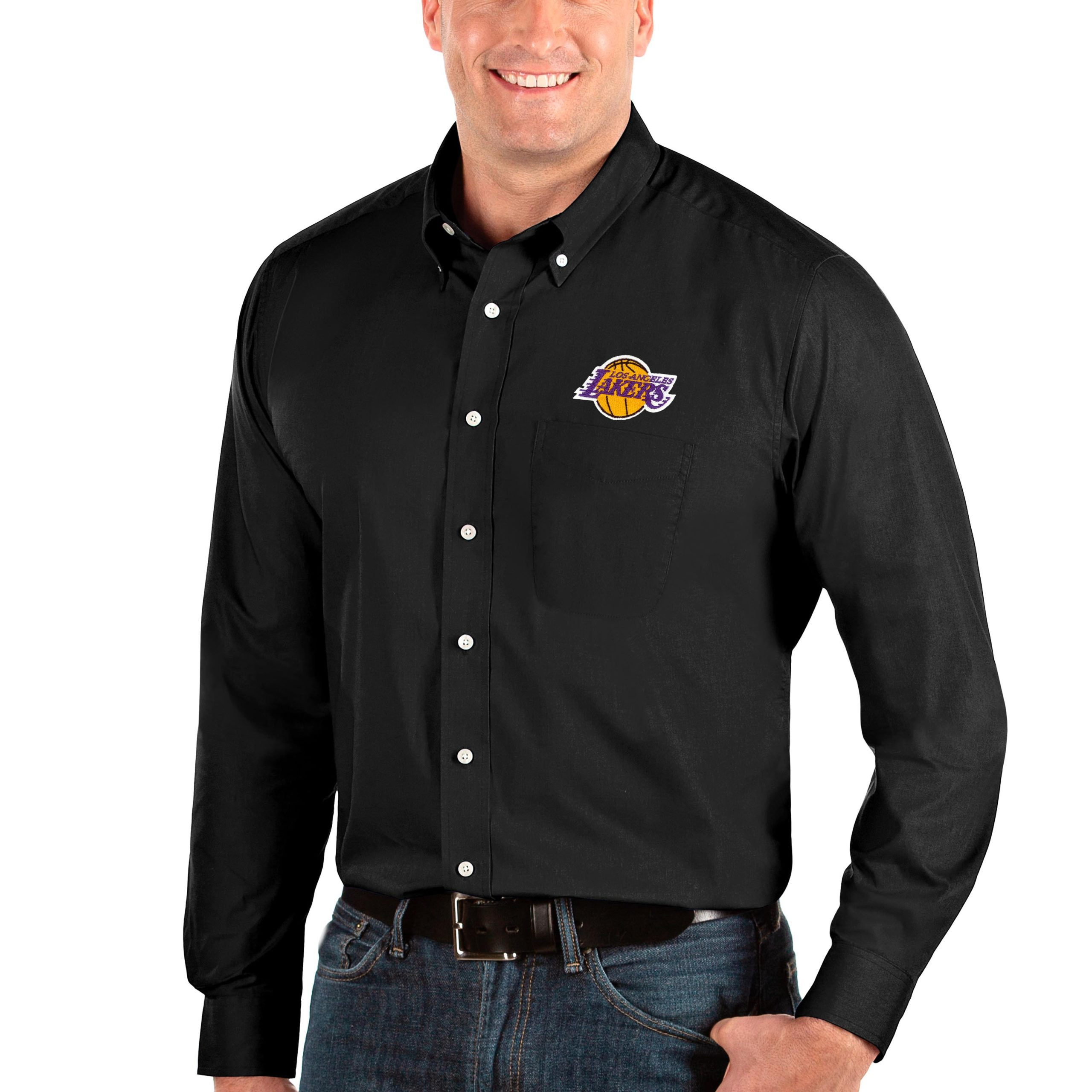 Los Angeles Lakers Antigua Big & Tall Dynasty Long Sleeve Button-Down Shirt - Black