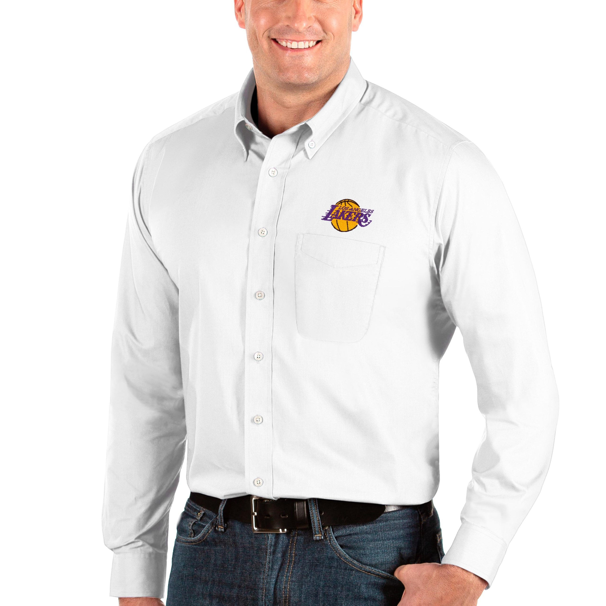 Los Angeles Lakers Antigua Big & Tall Dynasty Long Sleeve Button-Down Shirt - White