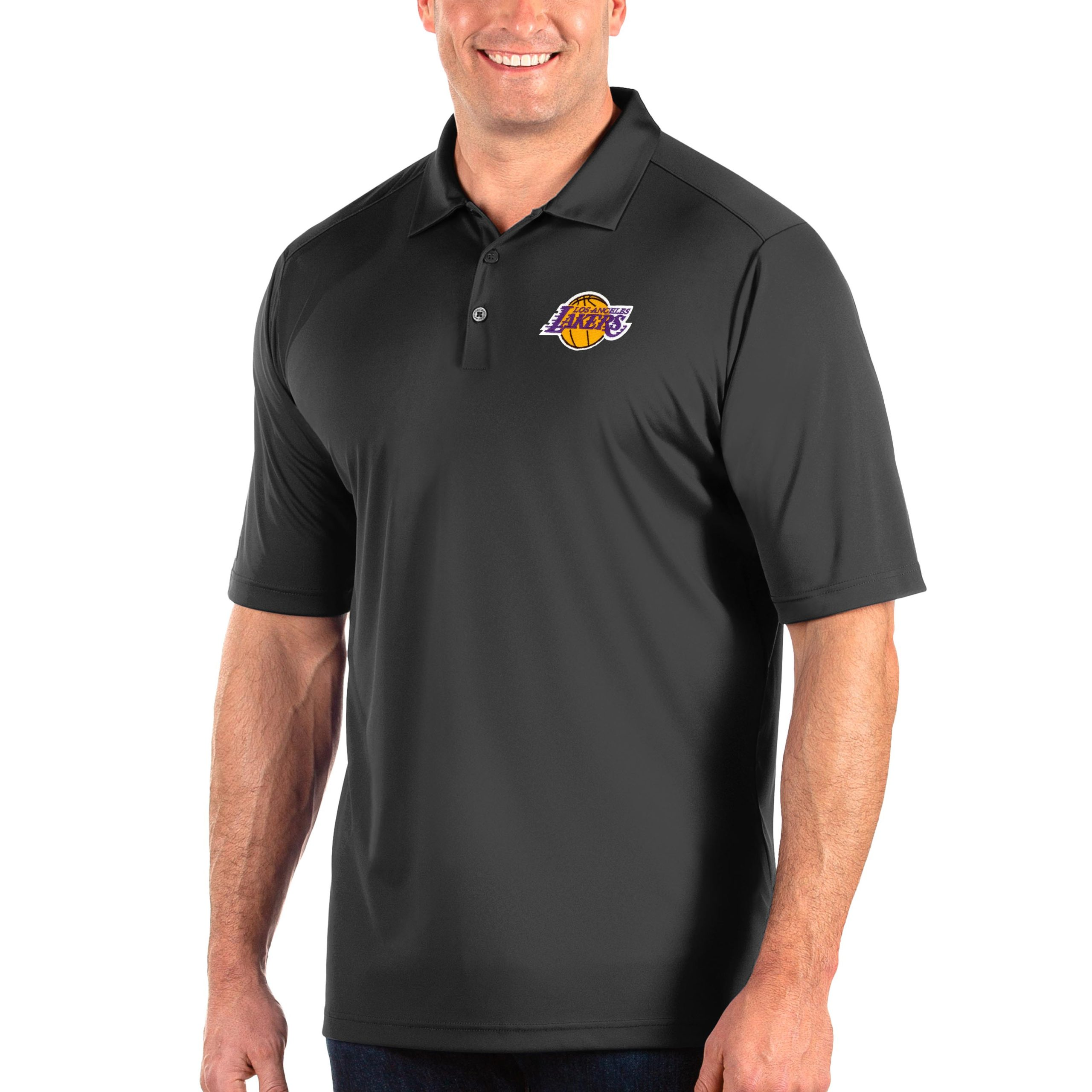 Los Angeles Lakers Antigua Big & Tall Tribute Polo - Charcoal