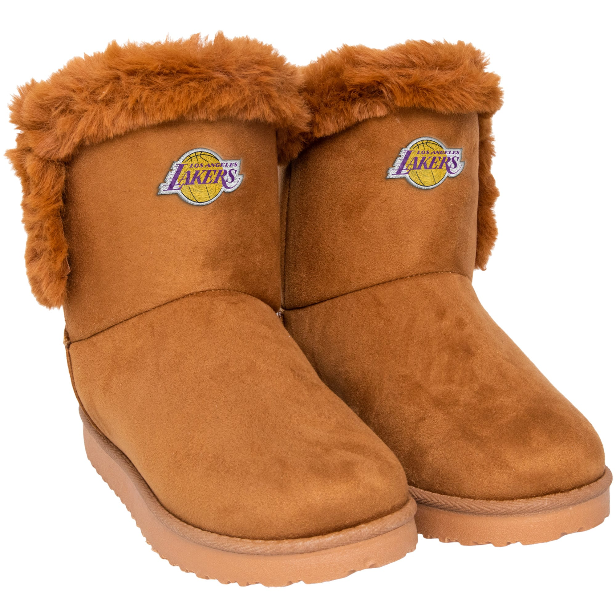 Los Angeles Lakers FOCO Women's Faux Fur Boots - Brown