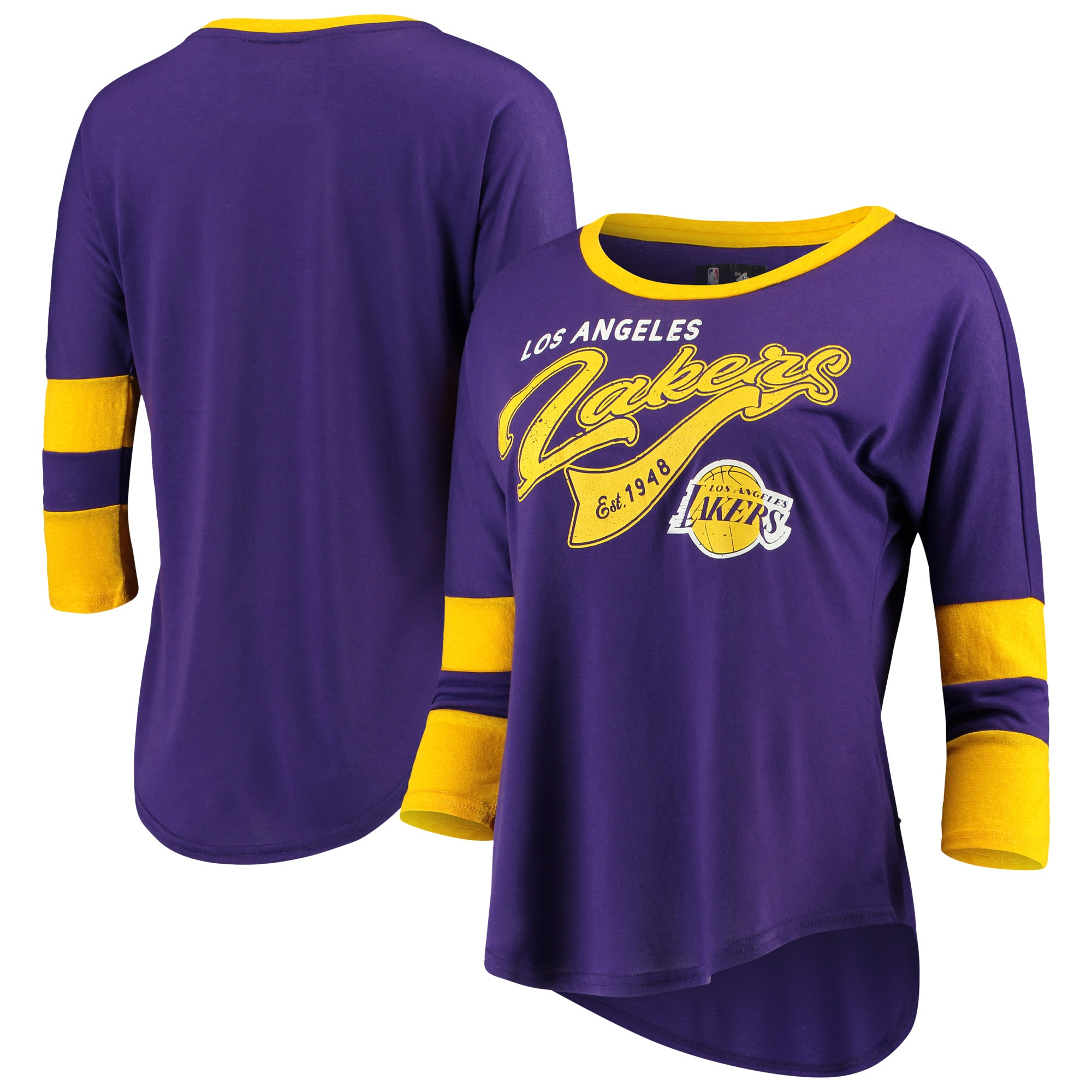 Los Angeles Lakers G-III 4Her by Carl Banks Women's Game Changer Viscose Jersey 3/4-Sleeve T-Shirt - Purple/Gold