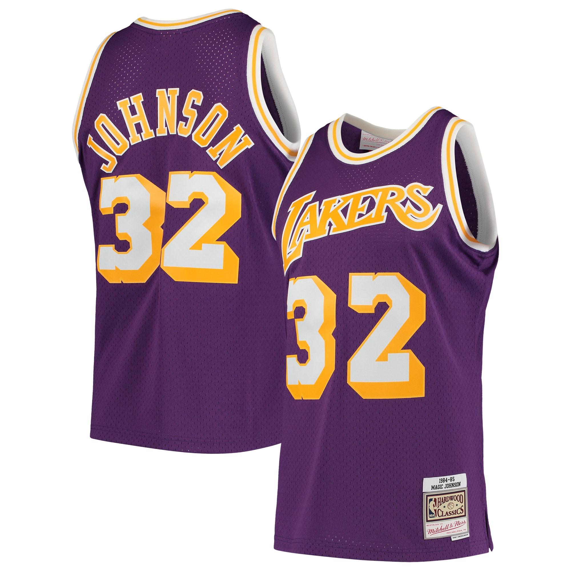 Magic Johnson Los Angeles Lakers Mitchell & Ness 1984-85 Hardwood Classics Swingman Player Jersey - Purple