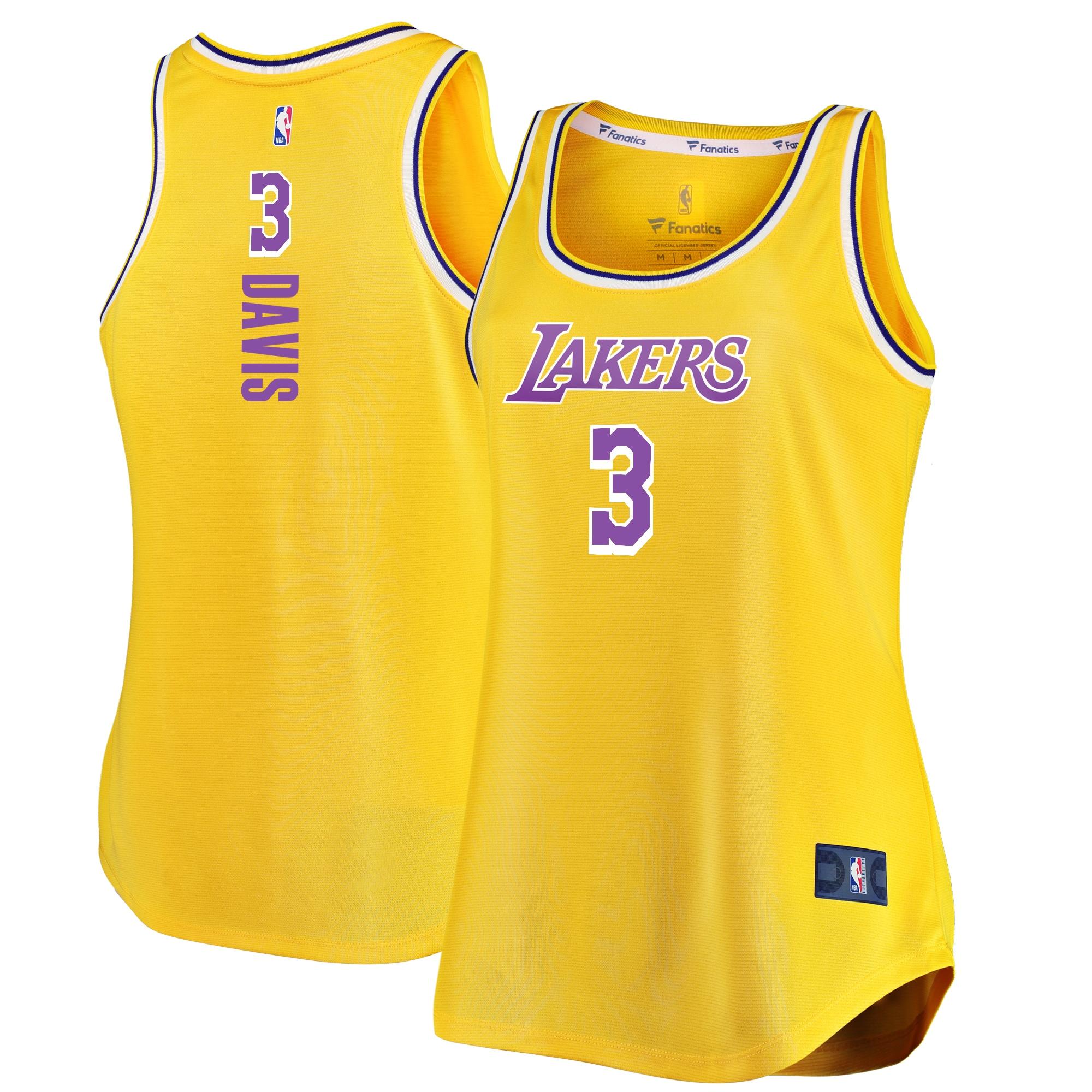 Anthony Davis Los Angeles Lakers Fanatics Branded Women's Fast Break Player Movement Jersey Tank Top - Gold