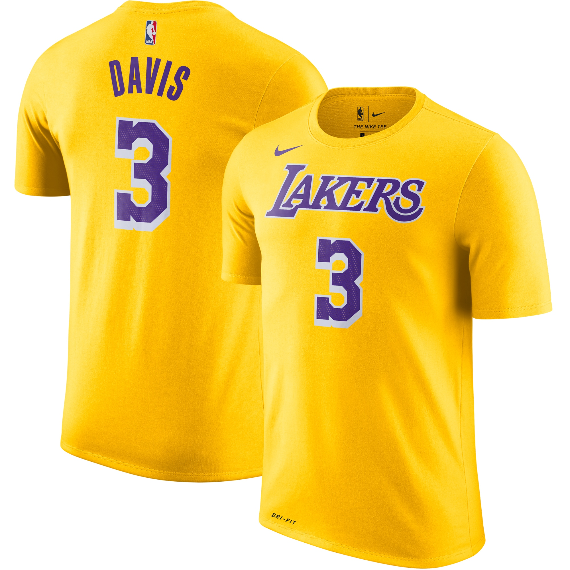 Anthony Davis Los Angeles Lakers Nike 2019/2020 Name & Number Performance T-Shirt - Yellow