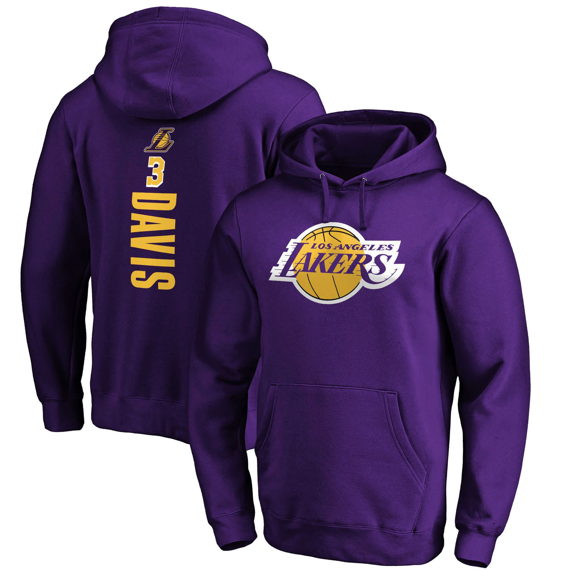 Anthony Davis Los Angeles Lakers Fanatics Branded Playmaker Name & Number Pullover Hoodie - Purple