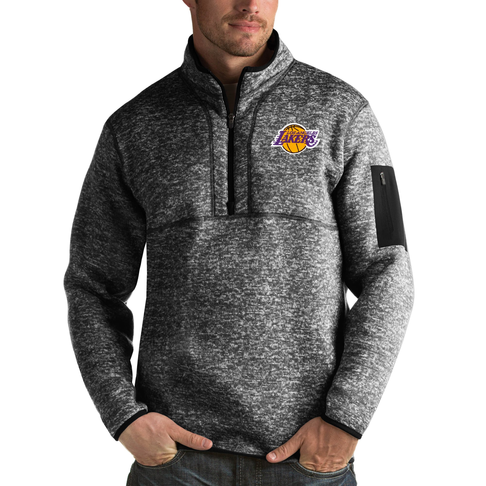 Los Angeles Lakers Antigua Fortune Big & Tall Quarter-Zip Pullover Jacket - Heather Black