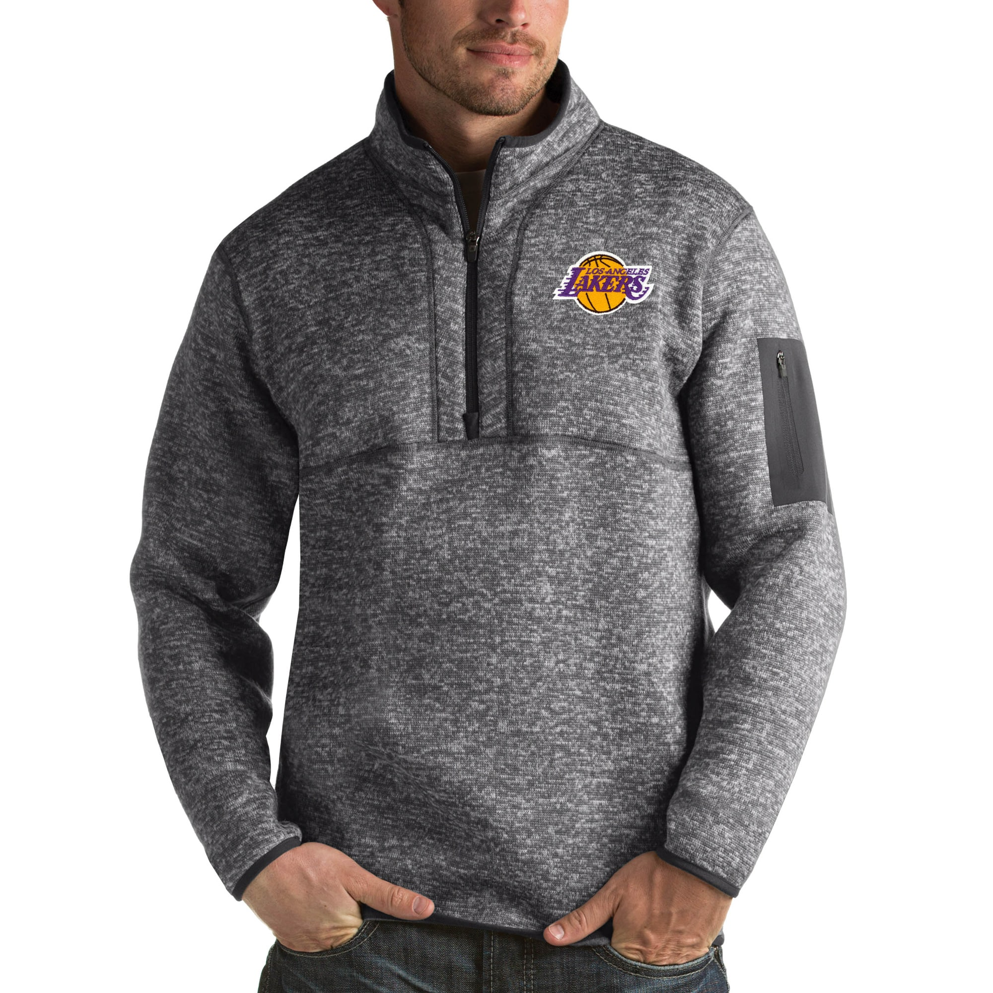 Los Angeles Lakers Antigua Fortune Big & Tall Quarter-Zip Pullover Jacket - Charcoal