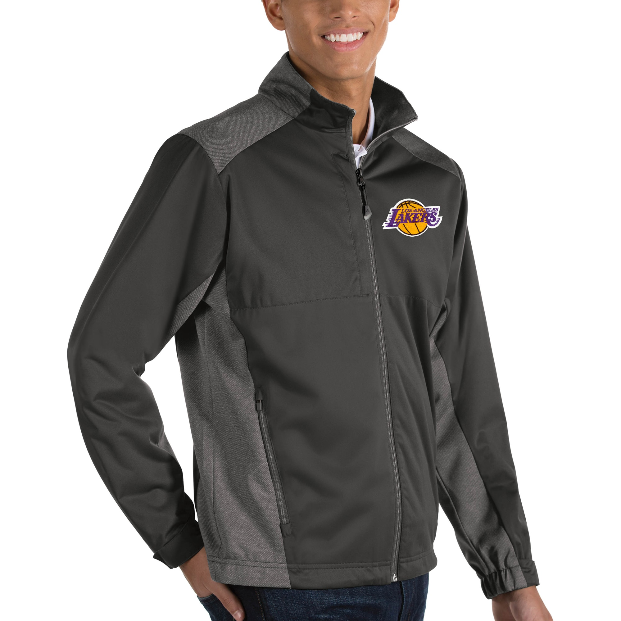 Los Angeles Lakers Antigua Revolve Big & Tall Full-Zip Jacket - Charcoal