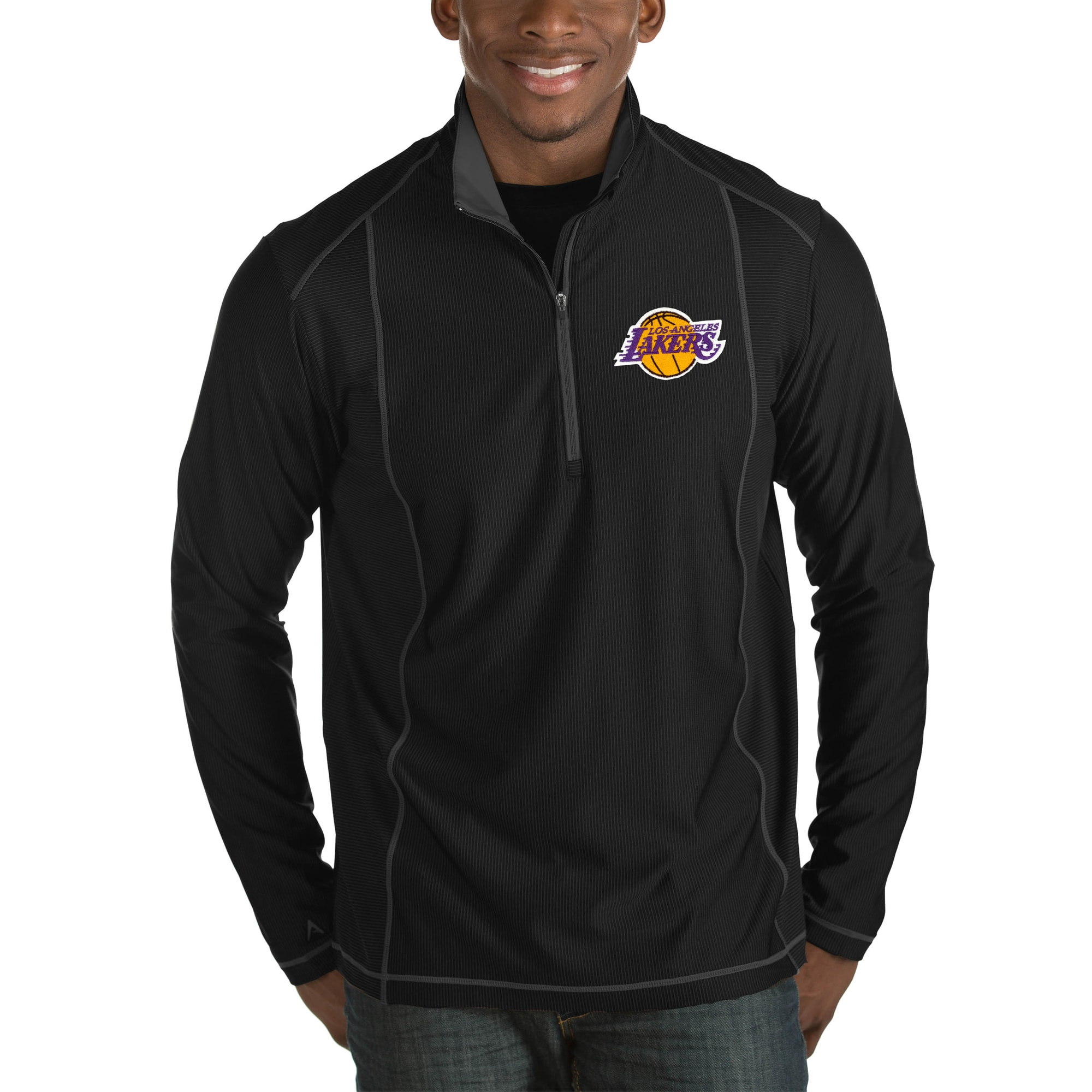 Los Angeles Lakers Antigua Tempo Big & Tall Half-Zip Pullover Jacket - Black