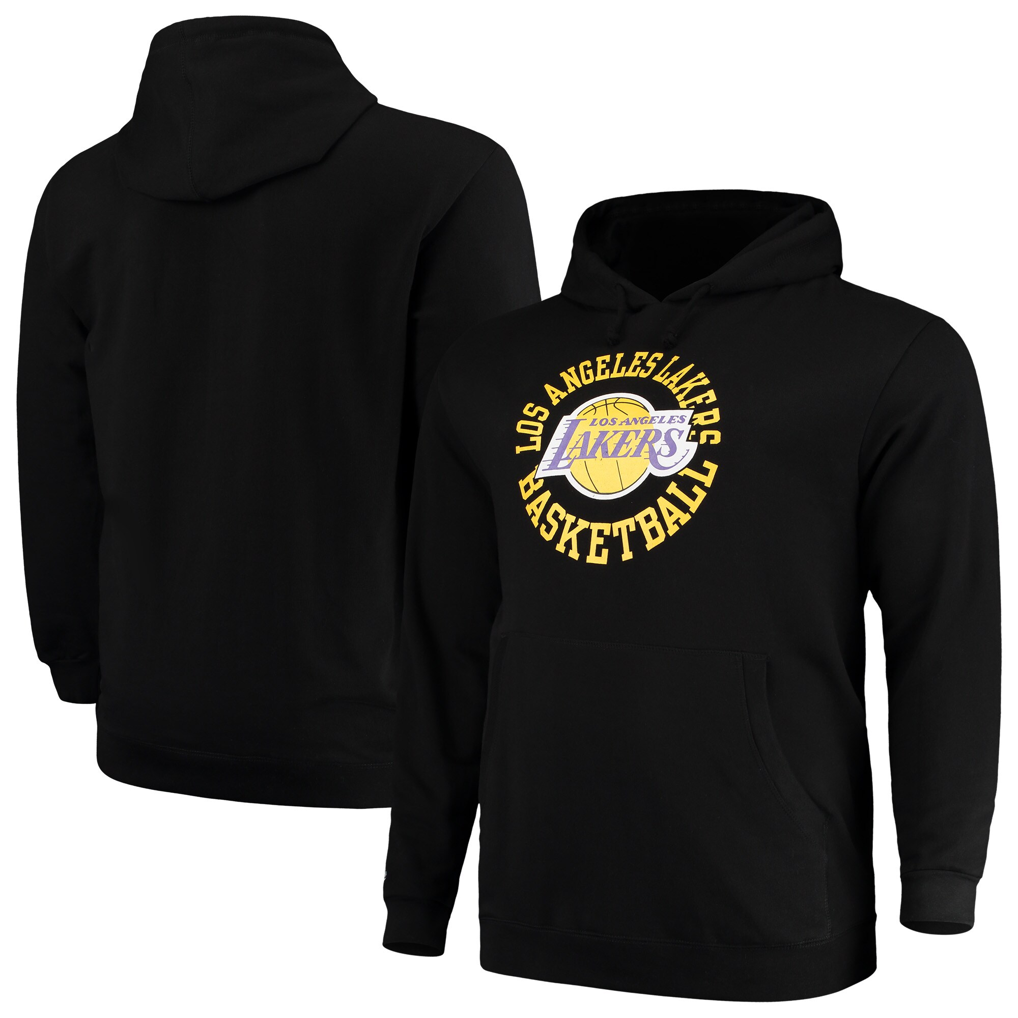 Los Angeles Lakers Mitchell & Ness Big & Tall Throwback Logo Pullover Hoodie - Black