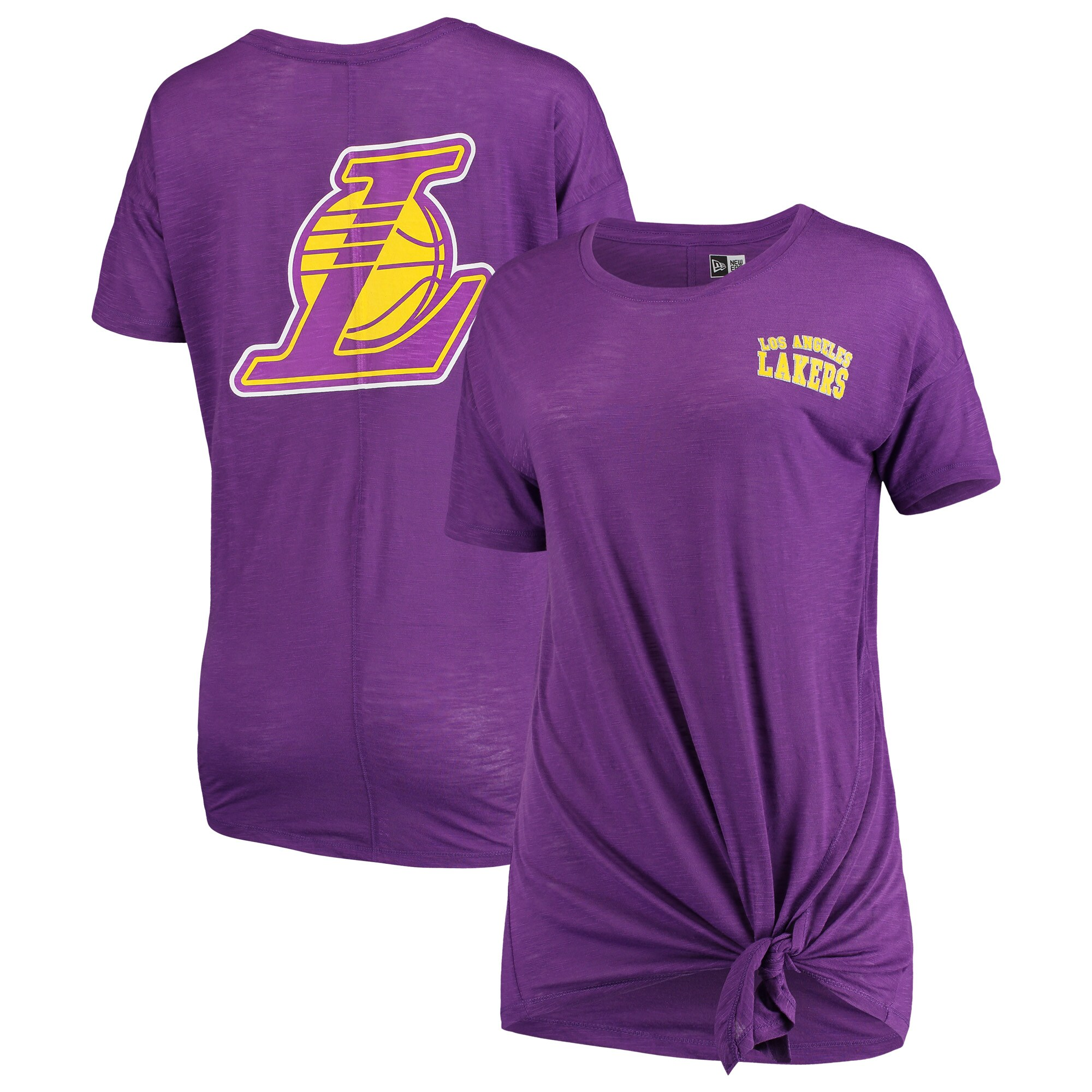 Los Angeles Lakers New Era Women's Side-Tie Slub T-Shirt - Purple