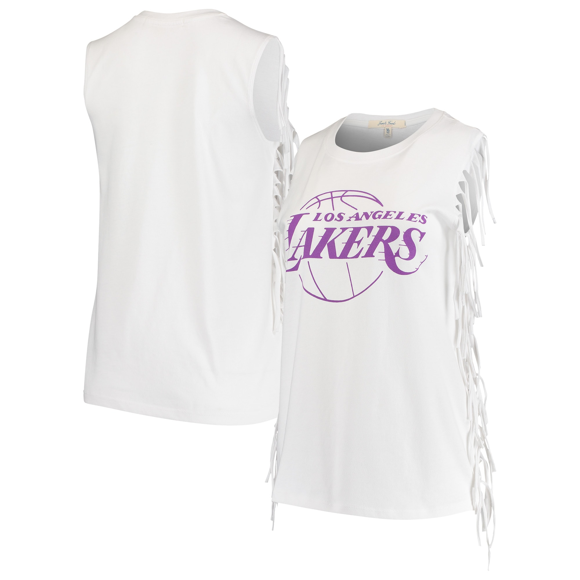 Los Angeles Lakers Junk Food Women's Fringe Tank Top - White