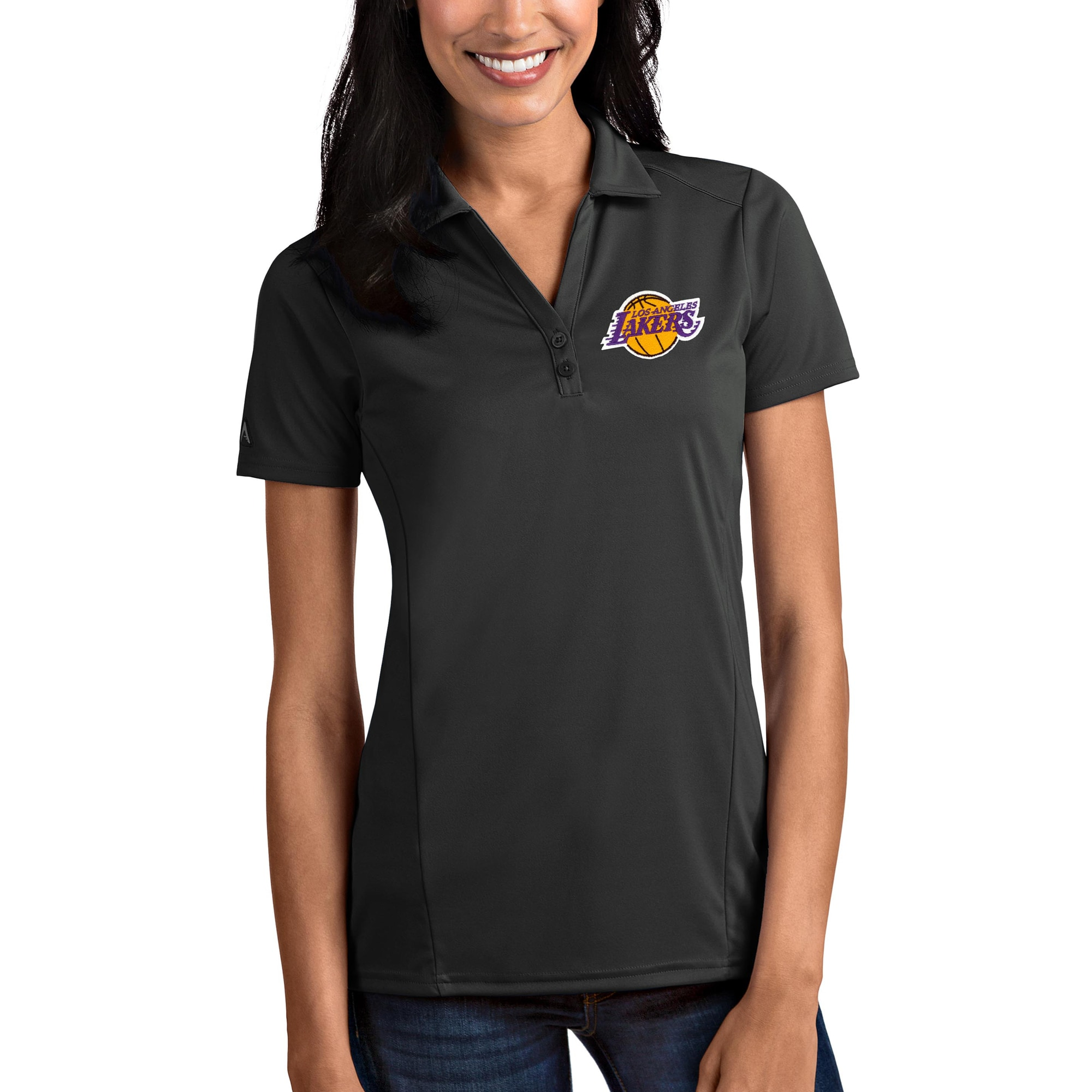 Los Angeles Lakers Antigua Women's Tribute Polo - Charcoal