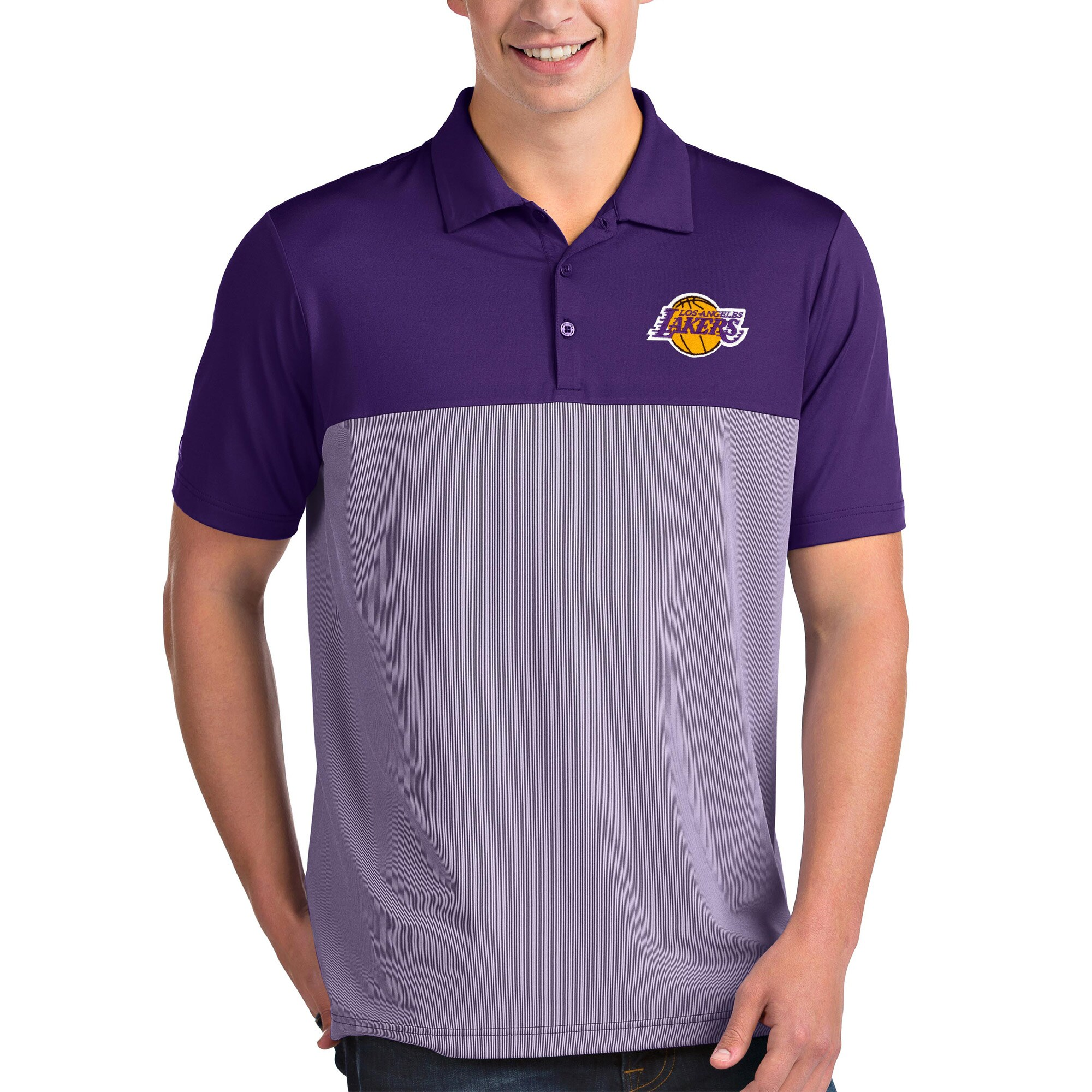 Los Angeles Lakers Antigua Venture Polo - Purple/White
