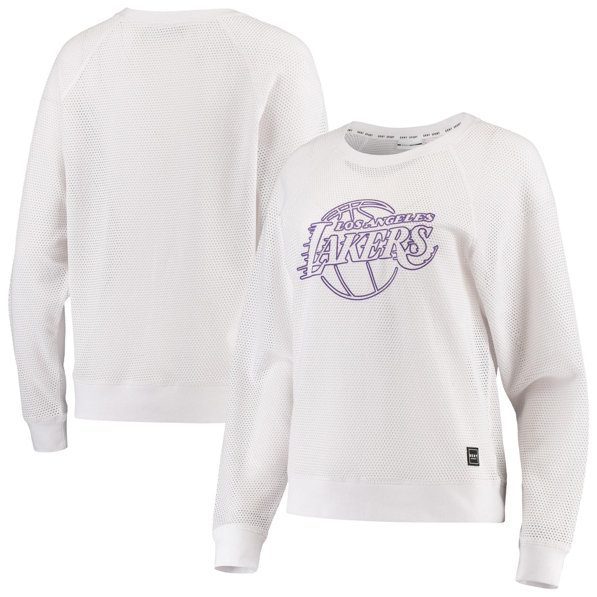 Los Angeles Lakers DKNY Sport Women's Lauren Mesh Pullover Raglan Sweatshirt - White
